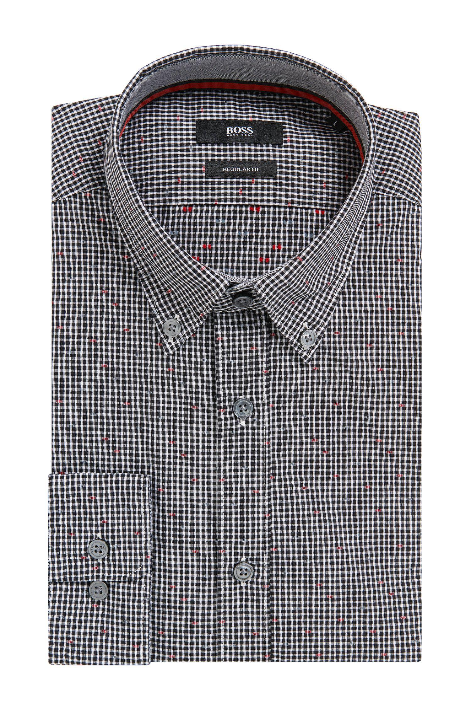 Patterned Cotton Sport Shirt, Regular Fit | Lod, Black