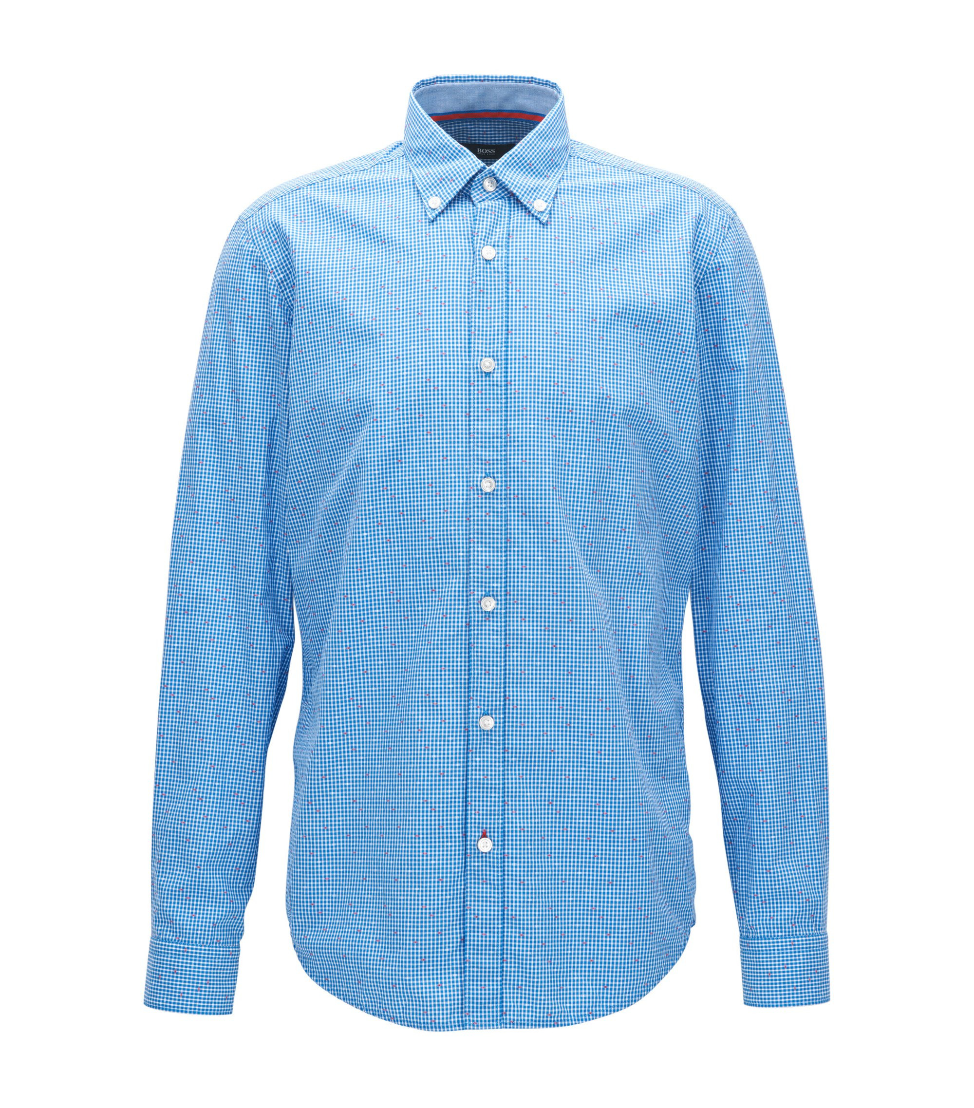 Patterned Cotton Sport Shirt, Regular Fit | Lod, Blue