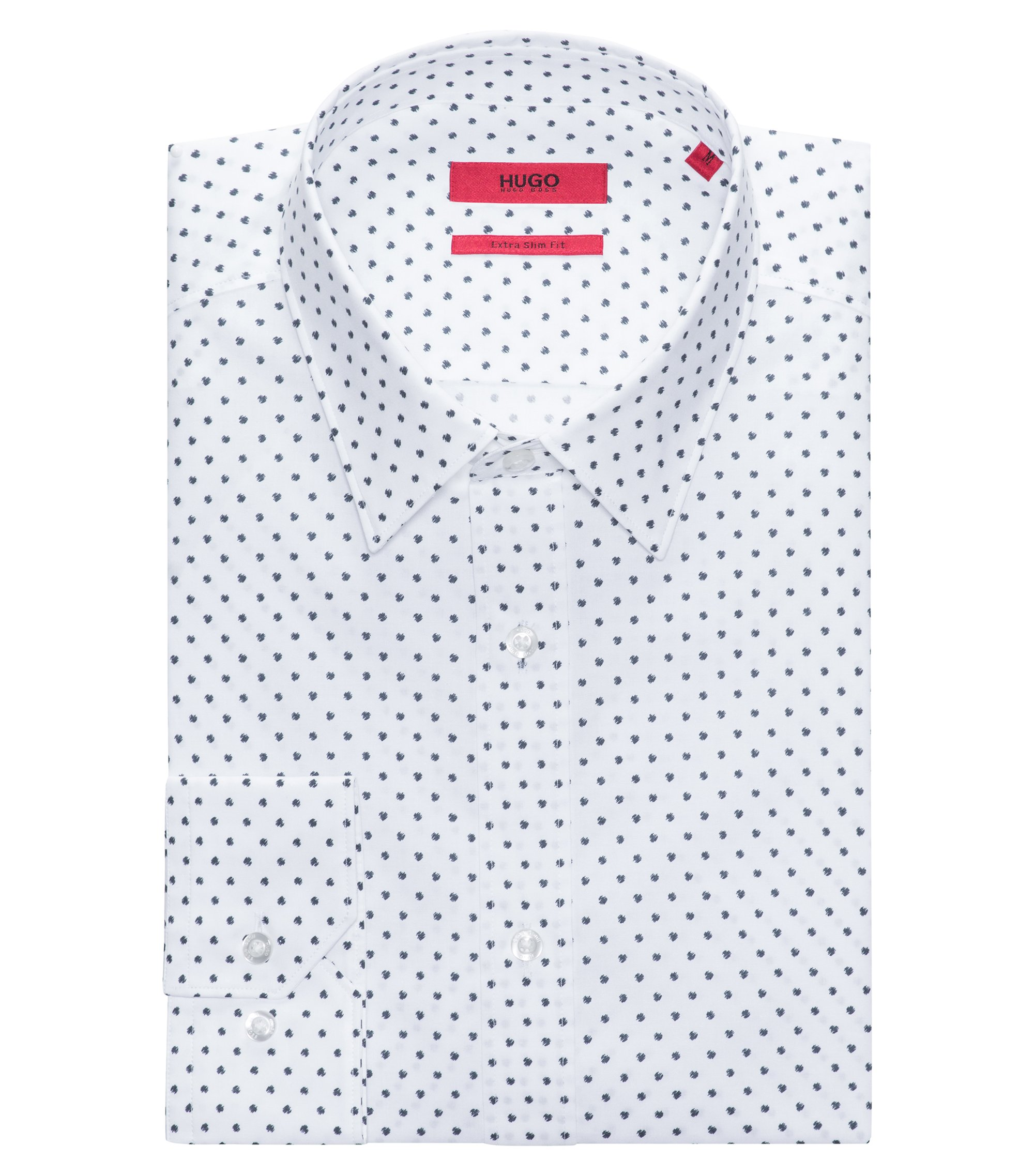 Polka Dotted Cotton Sport Shirt, Extra Slim Fit | Elisha, Dark Blue