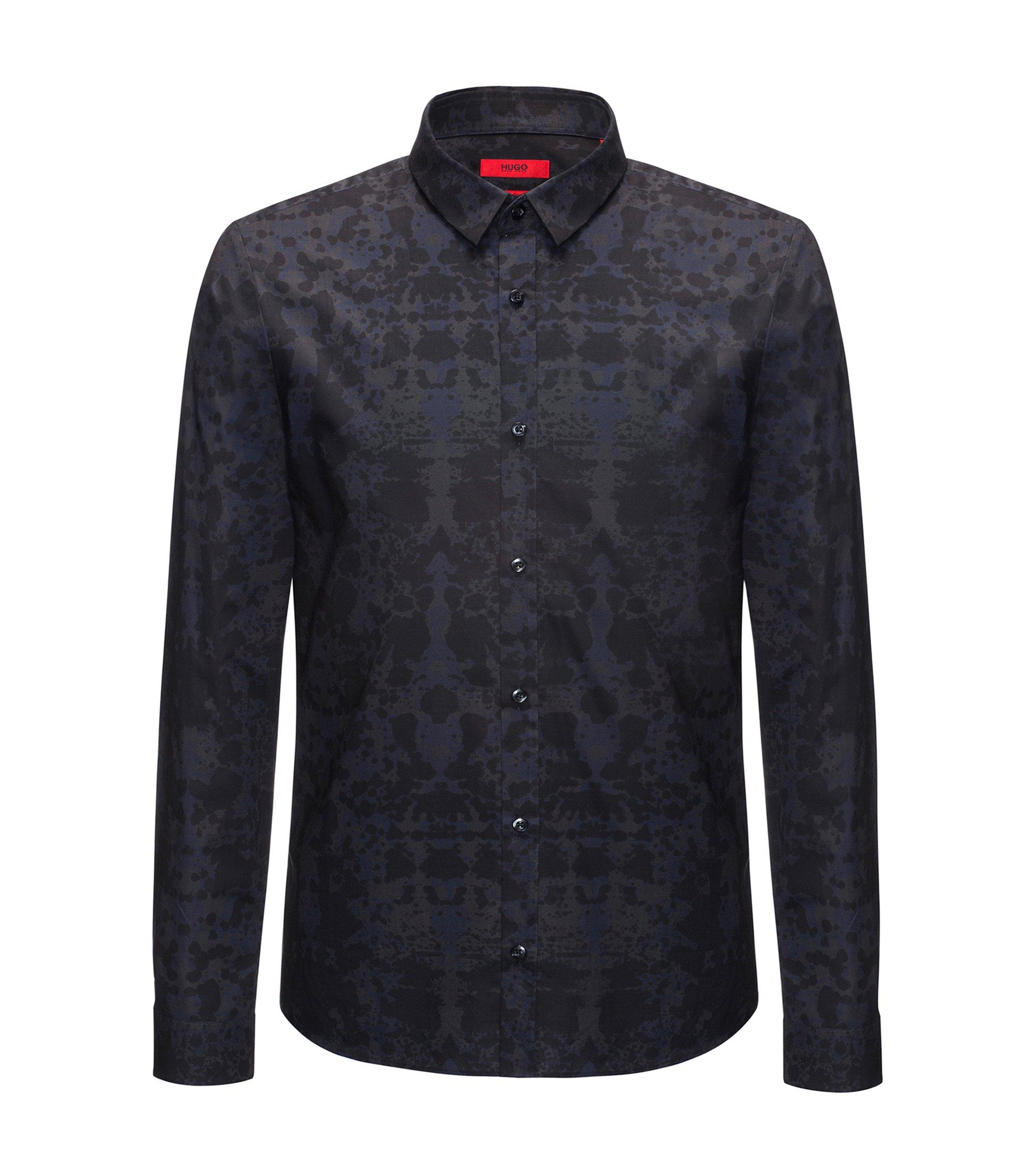 Rorschach-Print Cotton Sport Shirt, Extra Slim Fit | Ero, Dark Blue