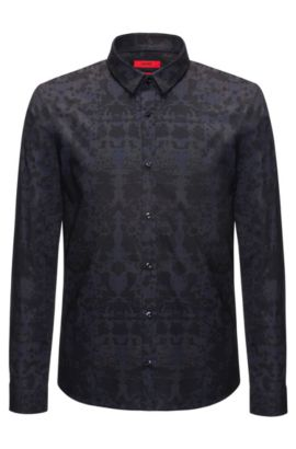 Rorschach-Print Cotton Sport Shirt, Extra Slim Fit | Ero, Dark Blue