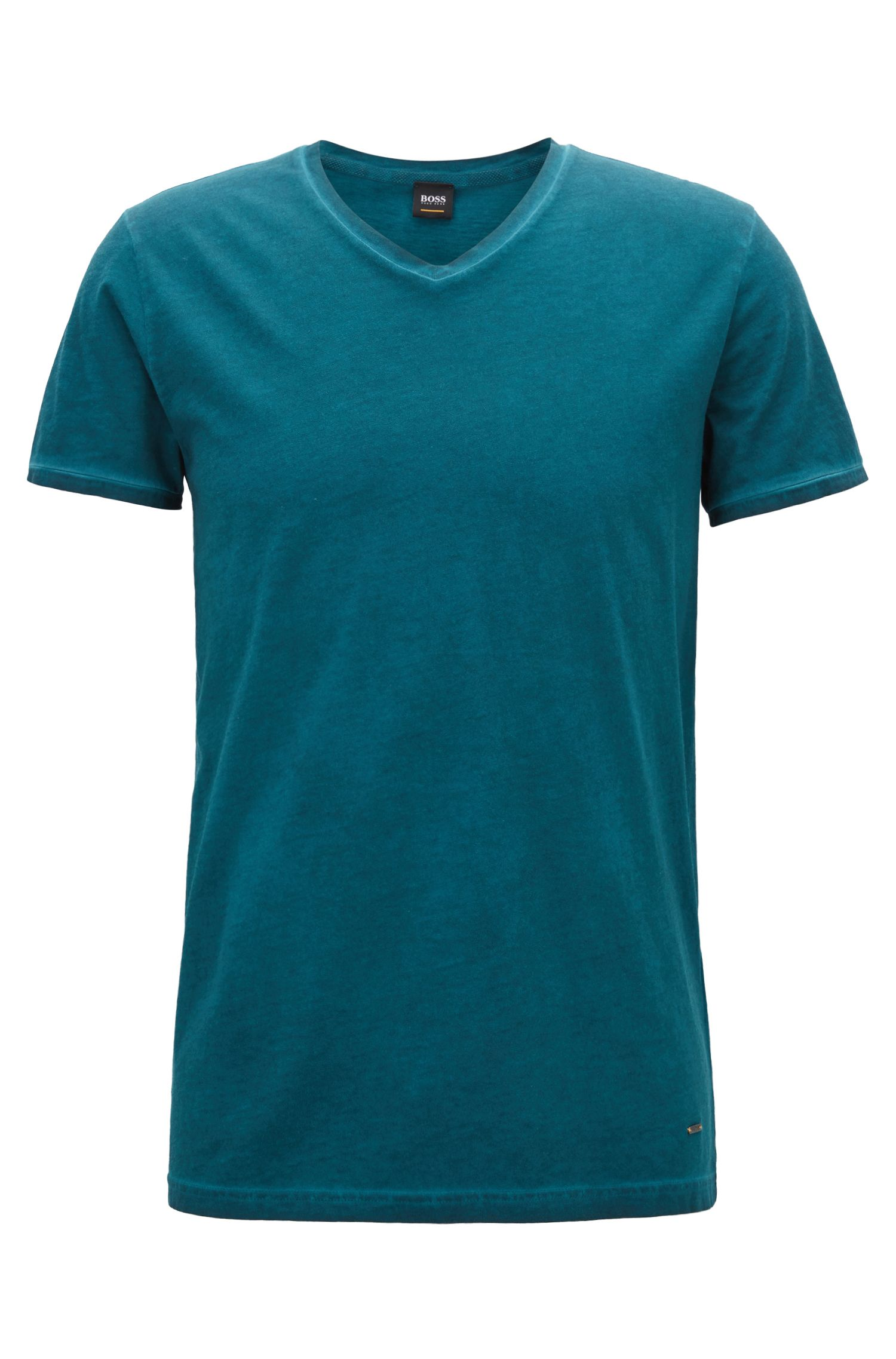 Regular-fit cotton T-shirt with V-neckline, Open Green