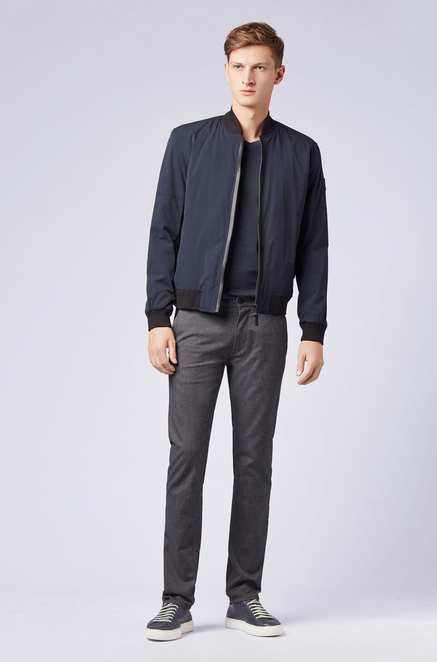 Regular-fit cotton T-shirt with V-neckline, Dark Blue