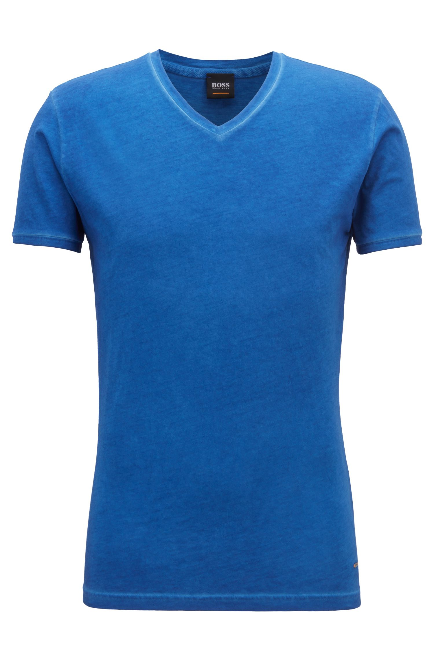 Regular-fit cotton T-shirt with V-neckline, Open Blue