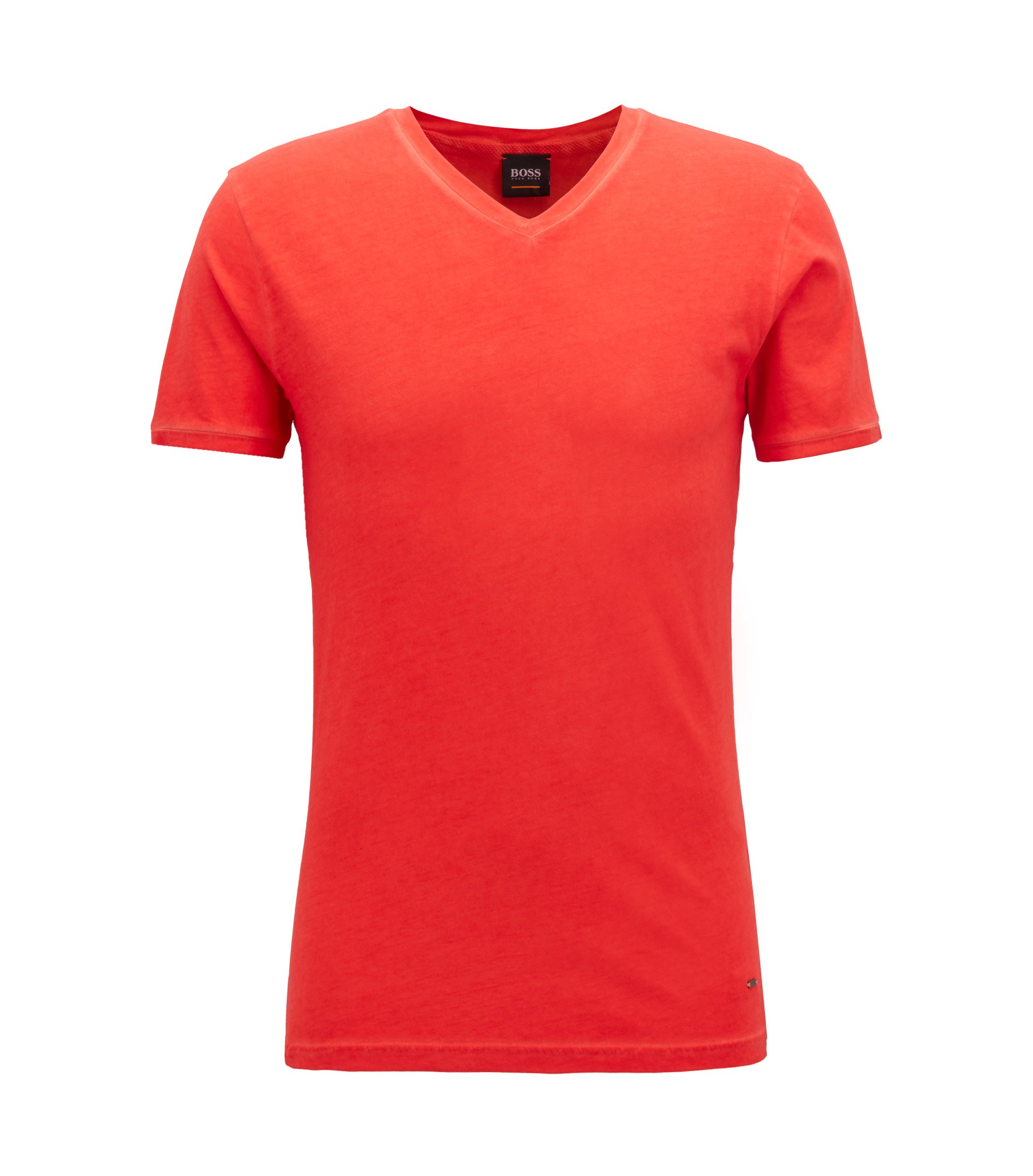 Regular-fit cotton T-shirt with V-neckline, Open Red