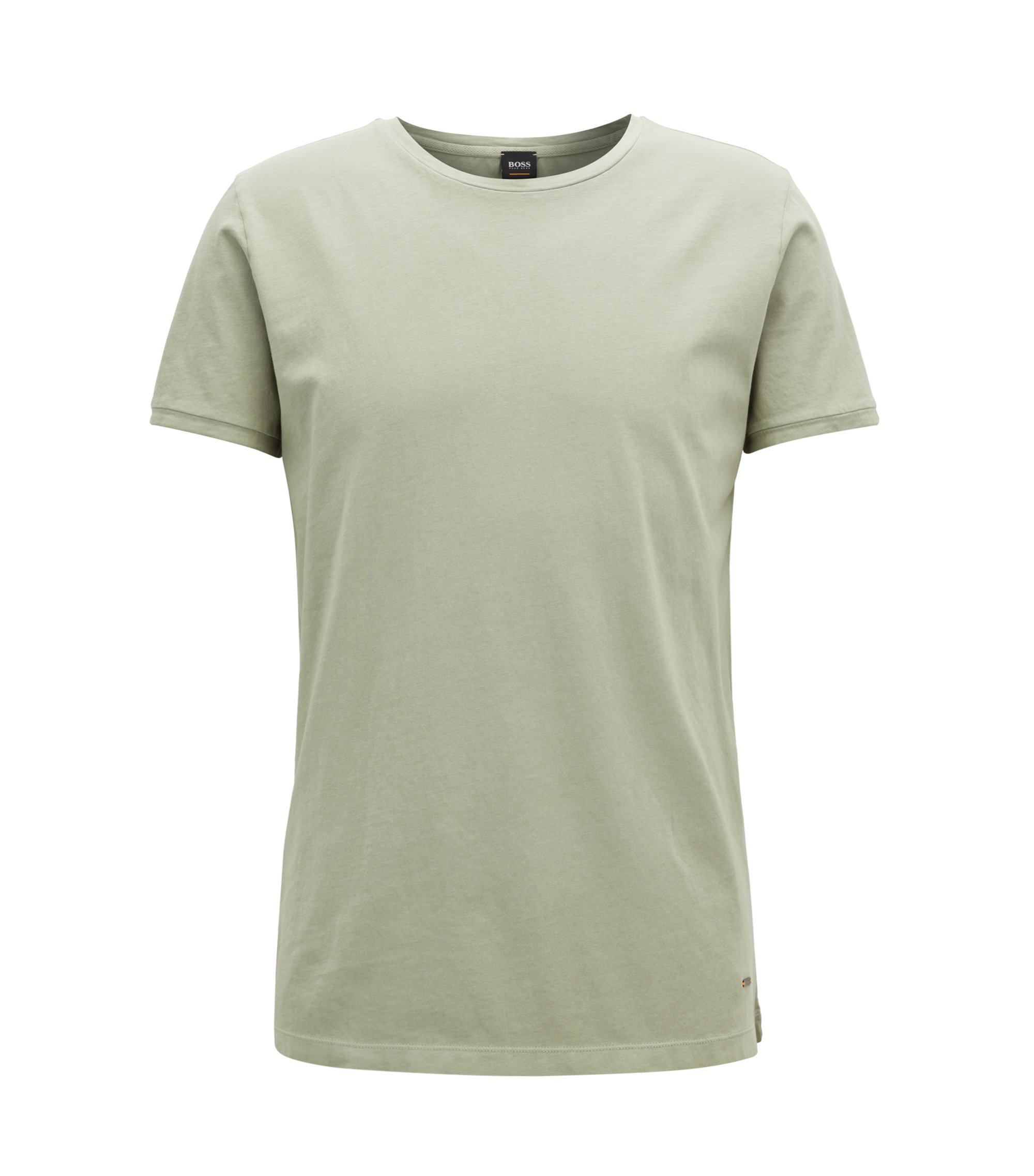 Regular-fit garment-dyed T-shirt in cotton, Light Green