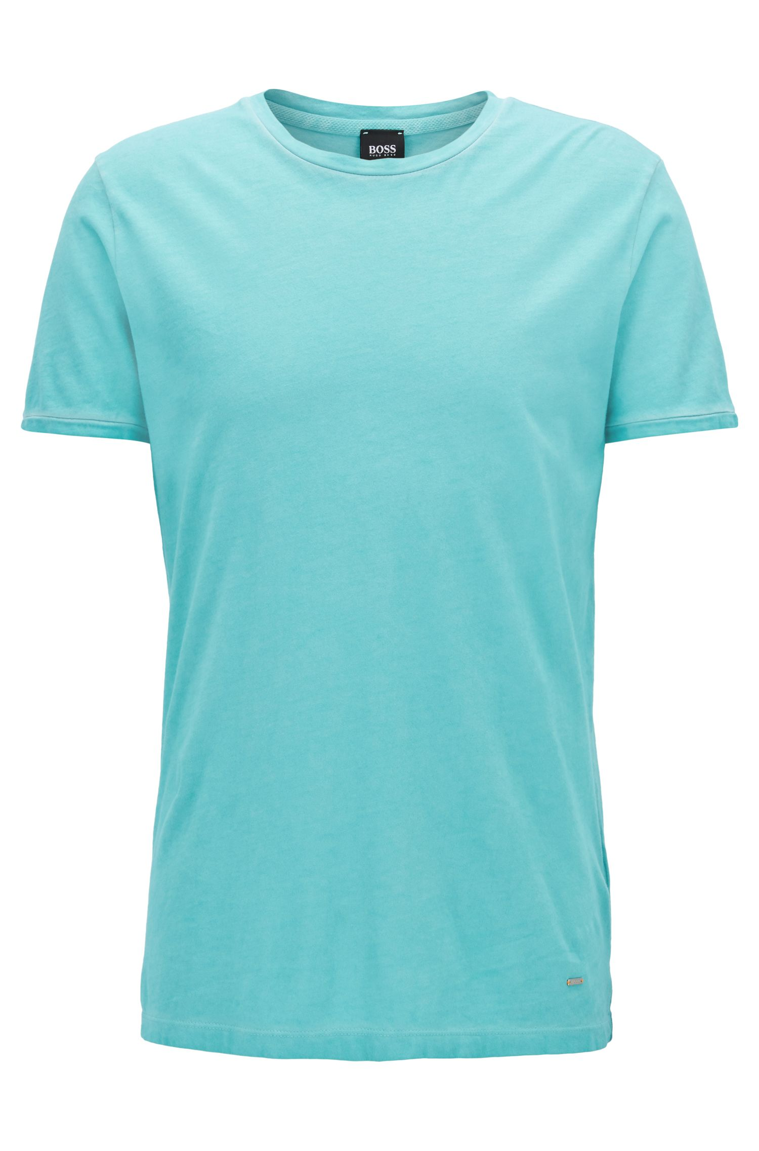 Regular-fit garment-dyed T-shirt in cotton, Turquoise