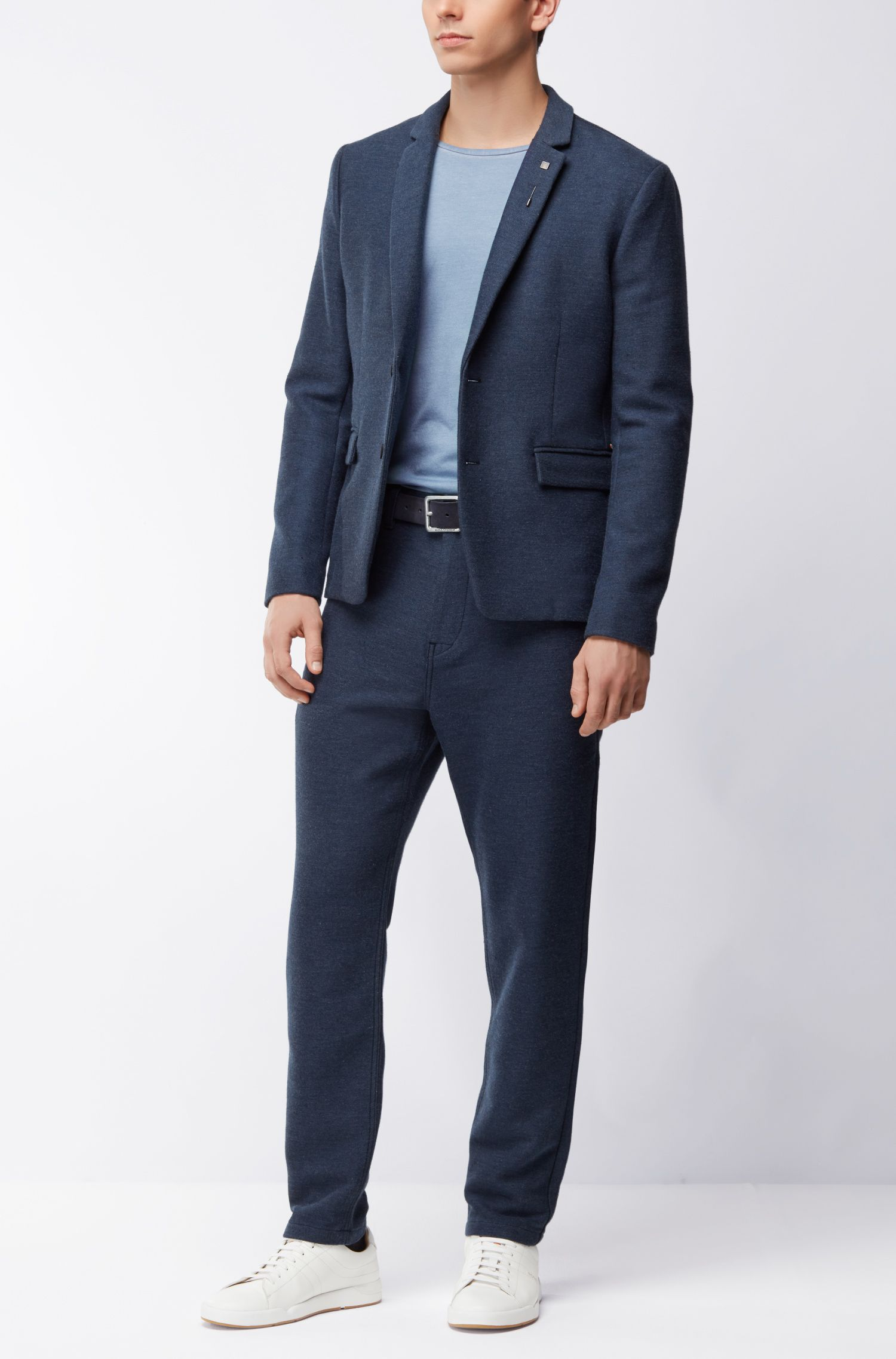 Regular-fit garment-dyed T-shirt in cotton, Open Blue