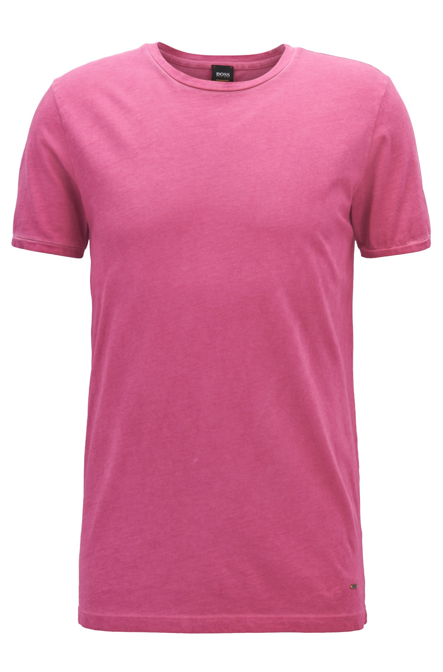 Regular-fit garment-dyed T-shirt in cotton, Dark Purple