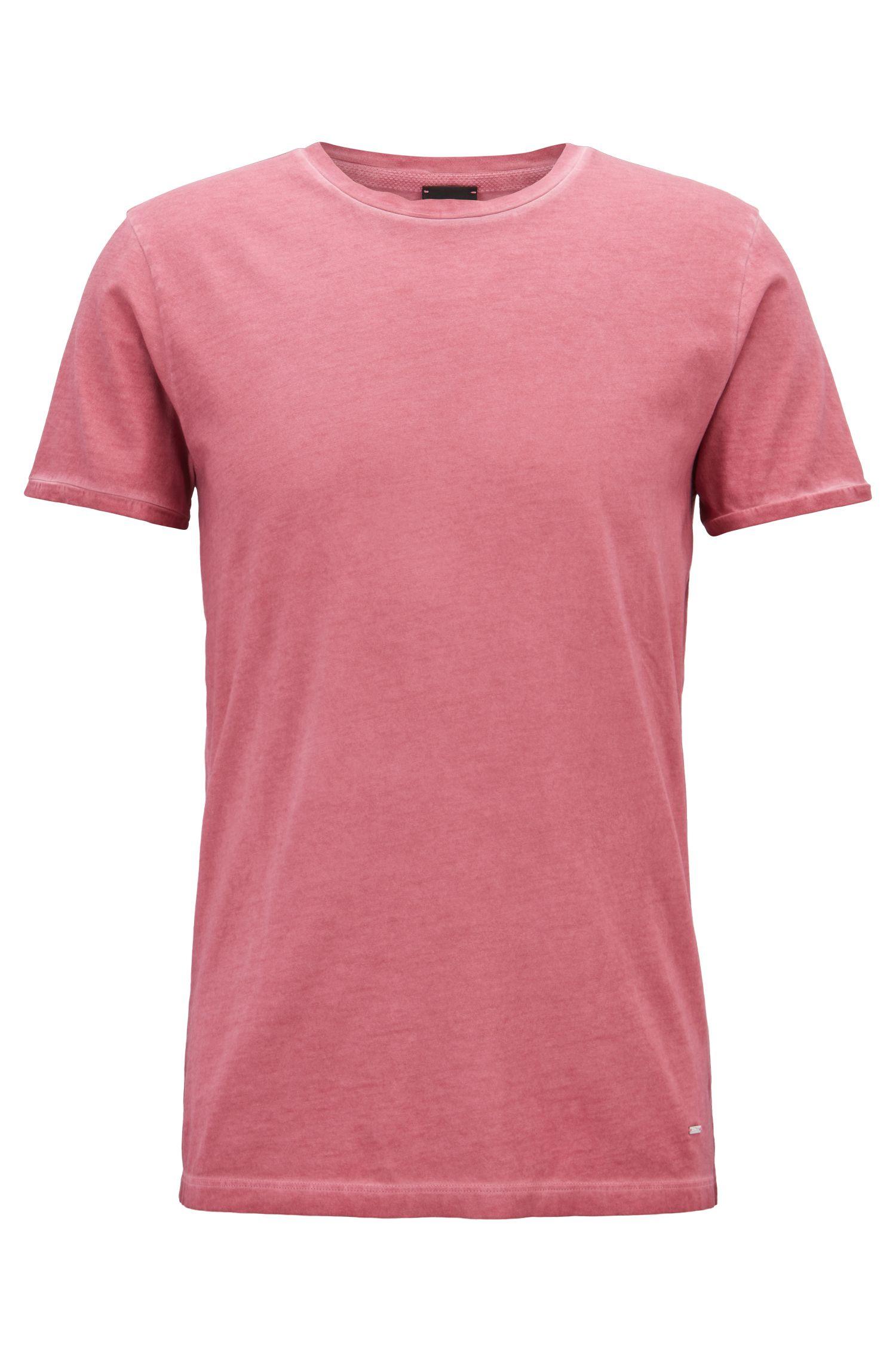Regular-fit garment-dyed T-shirt in cotton, Open Purple