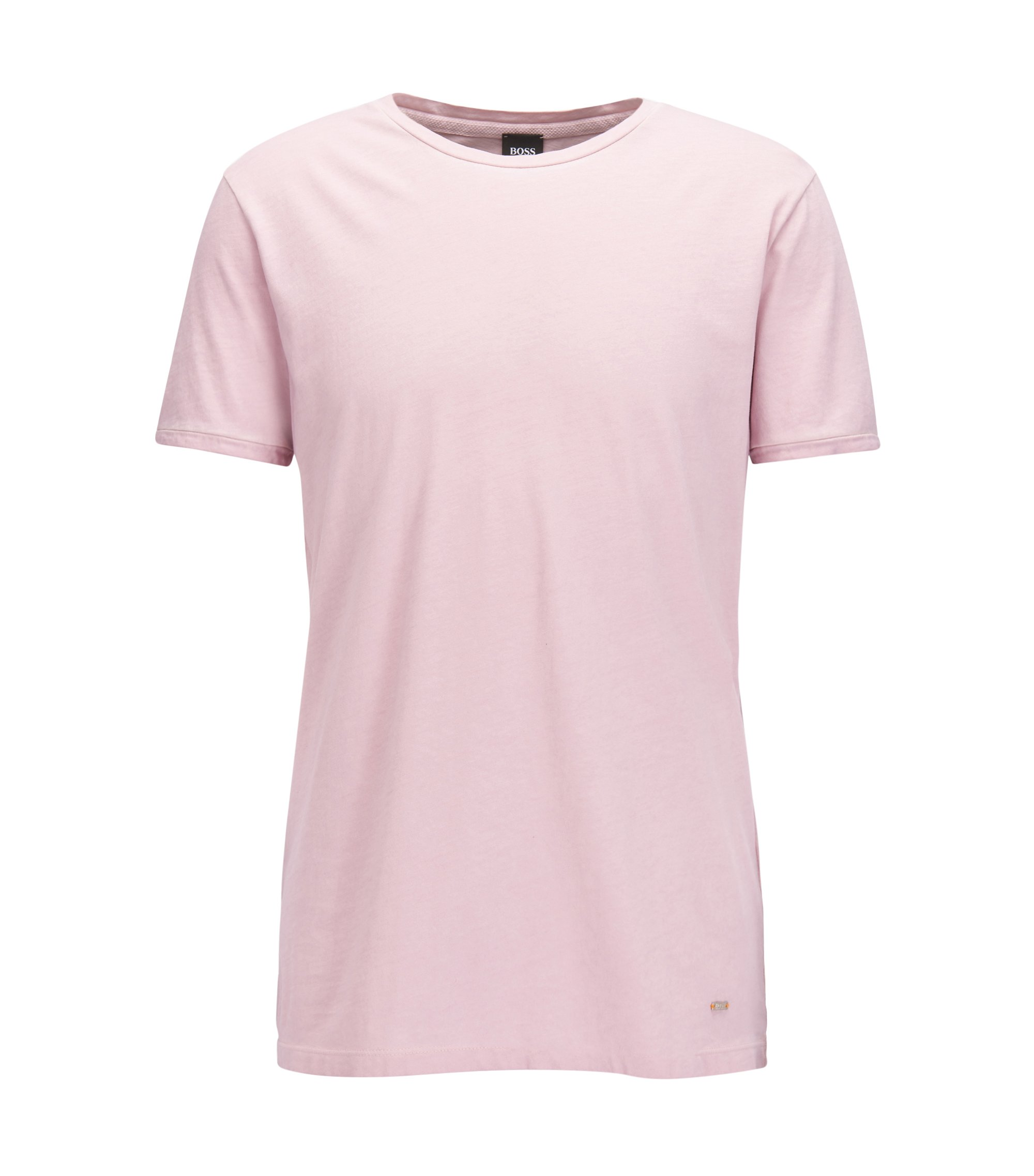 Regular-fit garment-dyed T-shirt in cotton, light pink