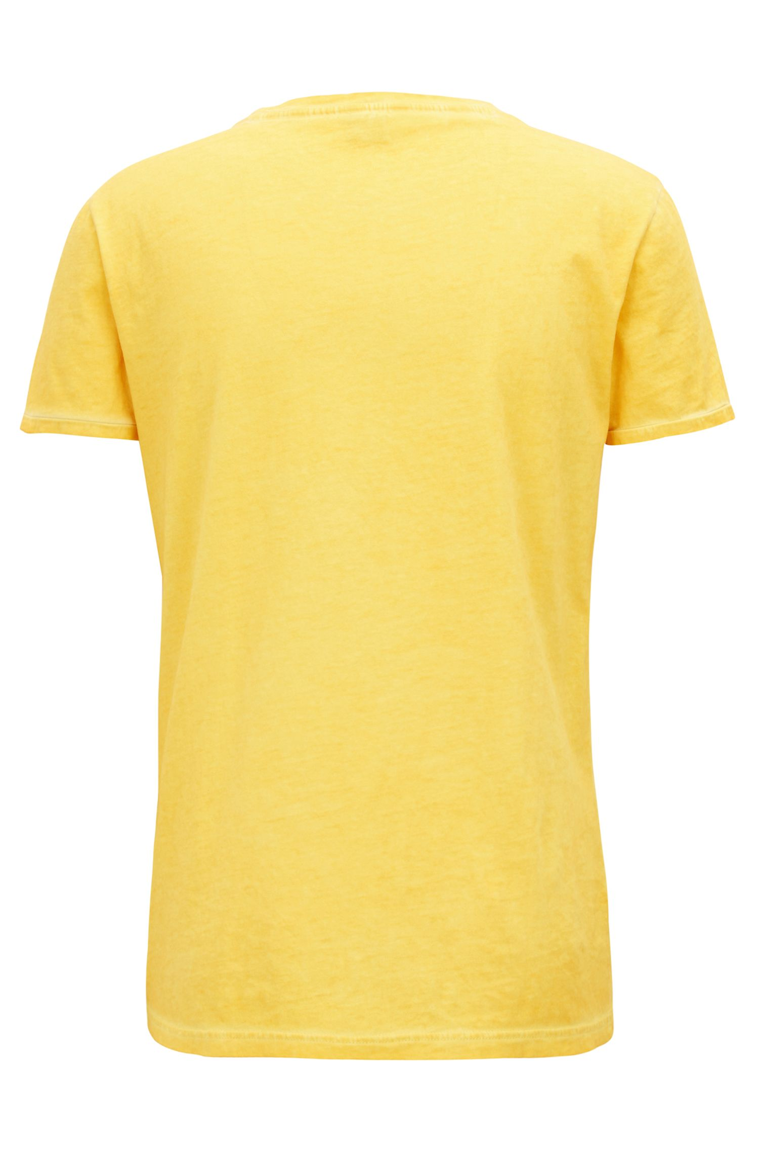Regular-fit garment-dyed T-shirt in cotton, Yellow