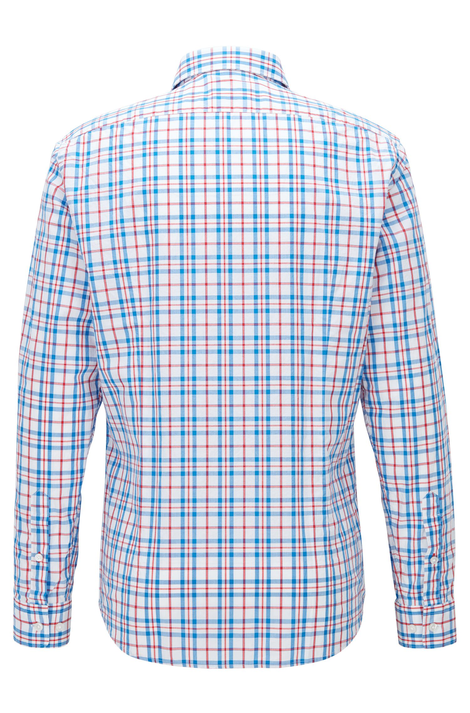 Plaid Cotton Sport Shirt, Regular Fit | Lukas, Blue