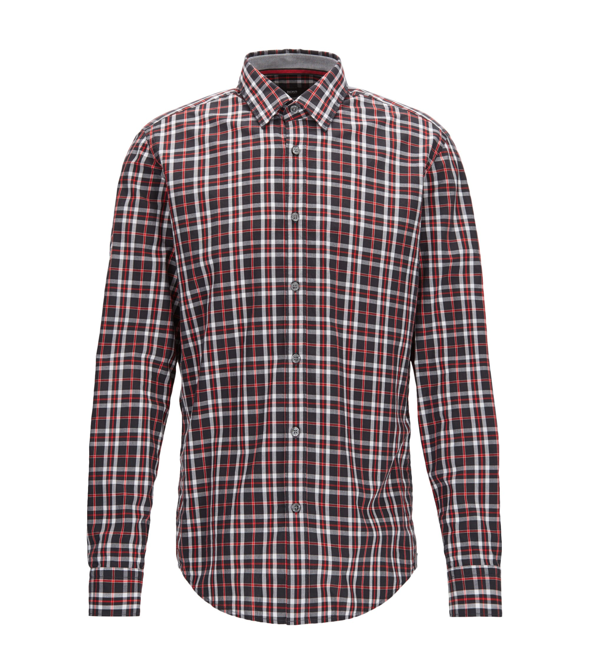 Plaid Cotton Sport Shirt, Regular Fit | Lukas, Red