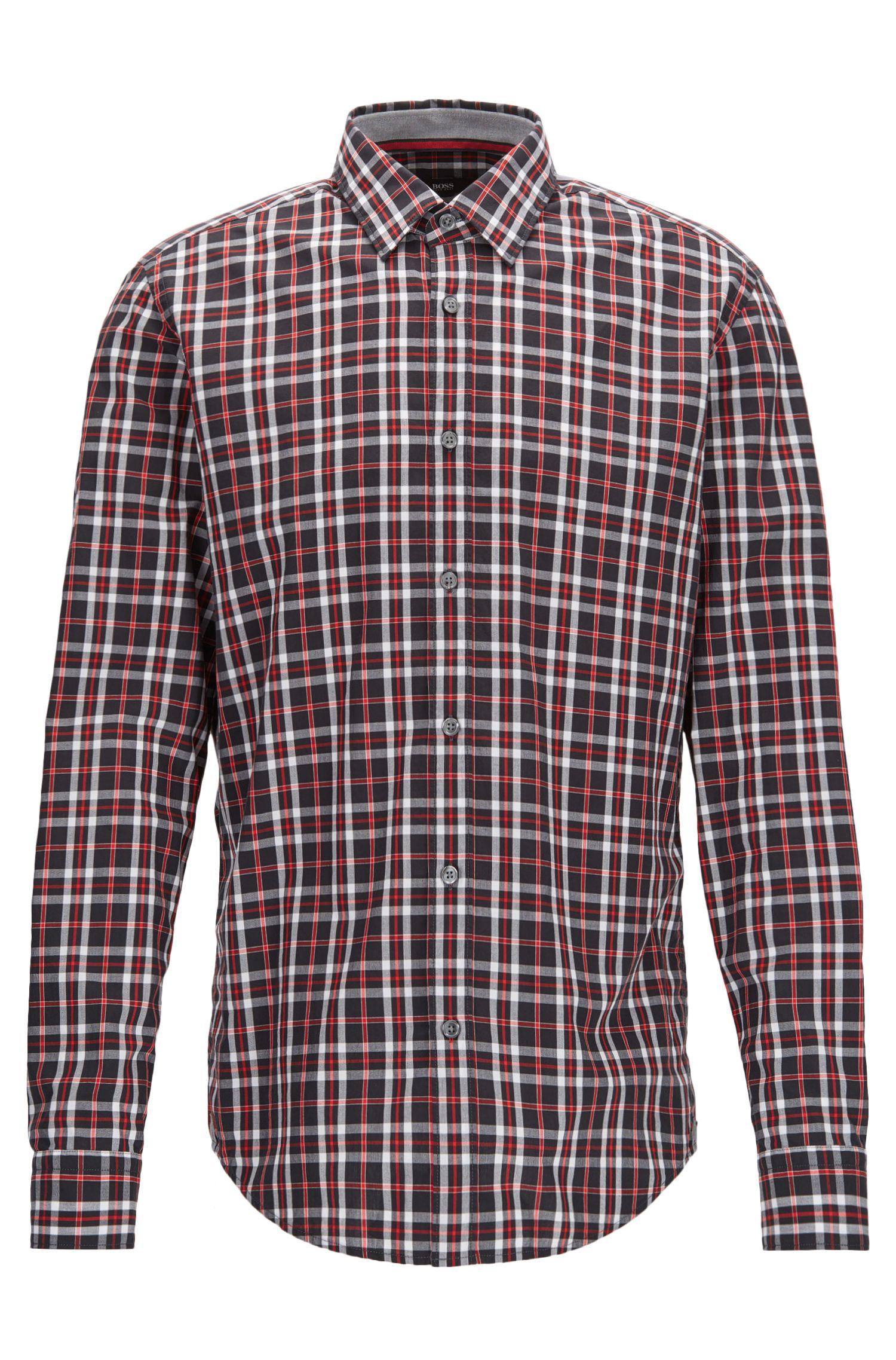 Plaid Cotton Sport Shirt, Regular Fit | Lukas