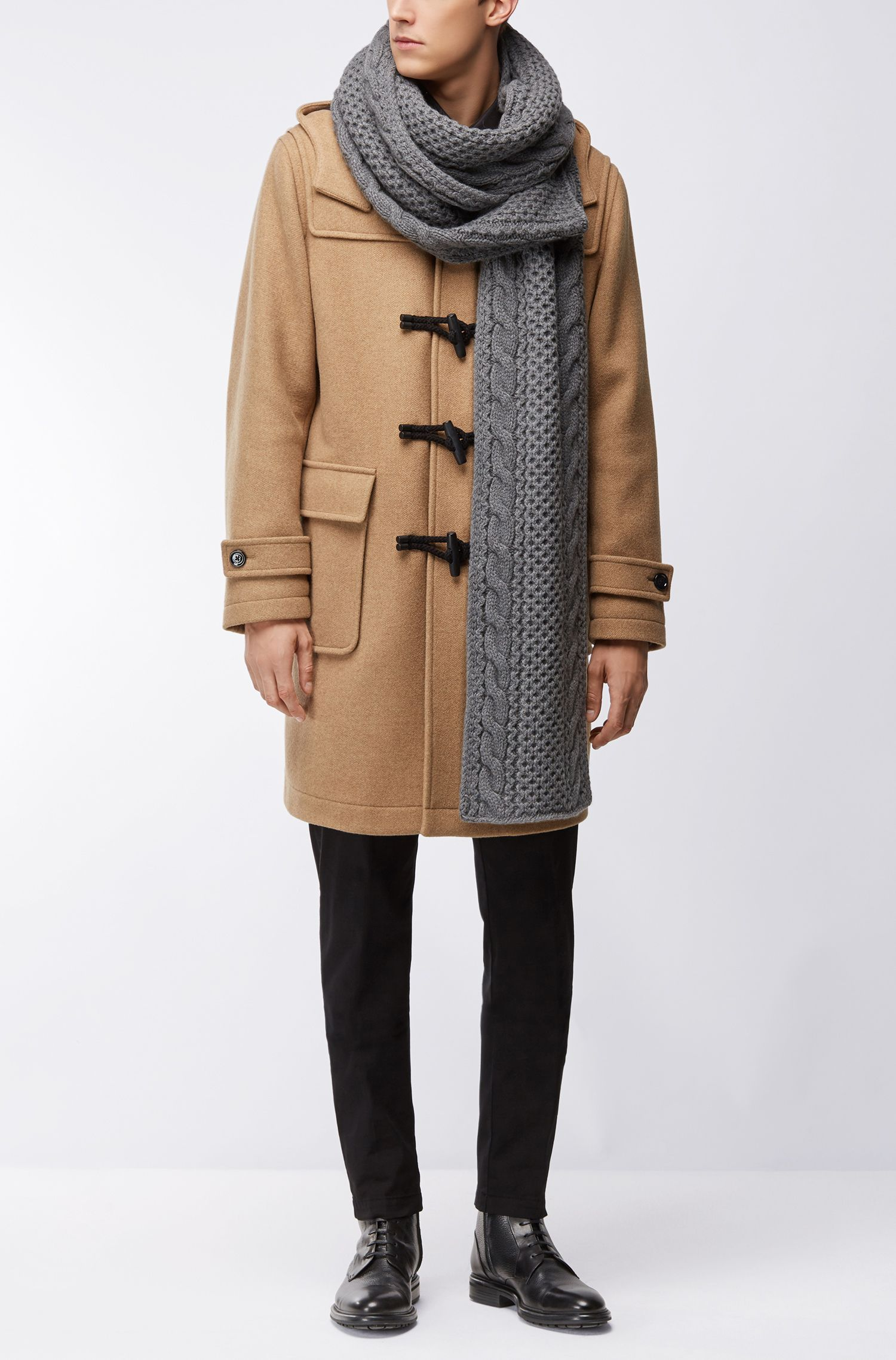 Cashmere Wool Cable Knit Scarf | Marno AM