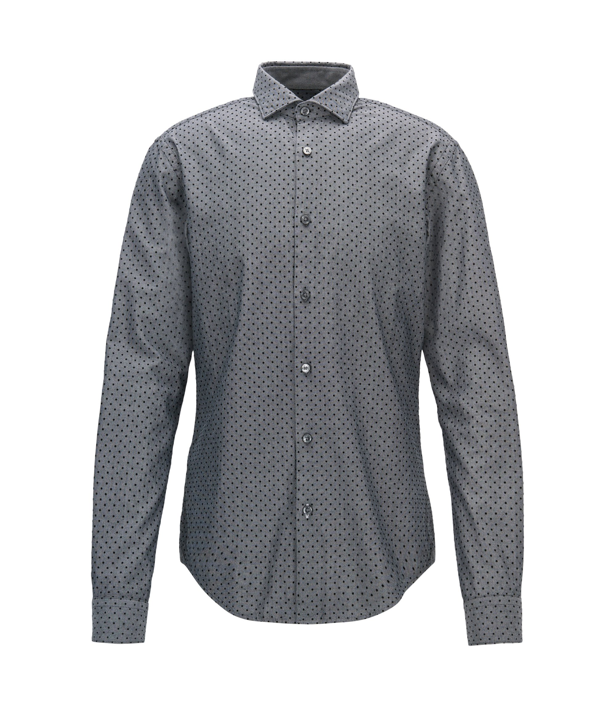 Polka Dot Sport Shirt, Slim Fit | Ridley F, Black
