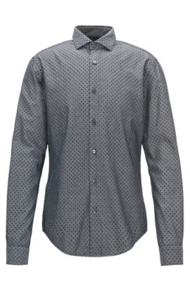 Polka Dot Sport Shirt, Slim Fit   Ridley F, Black
