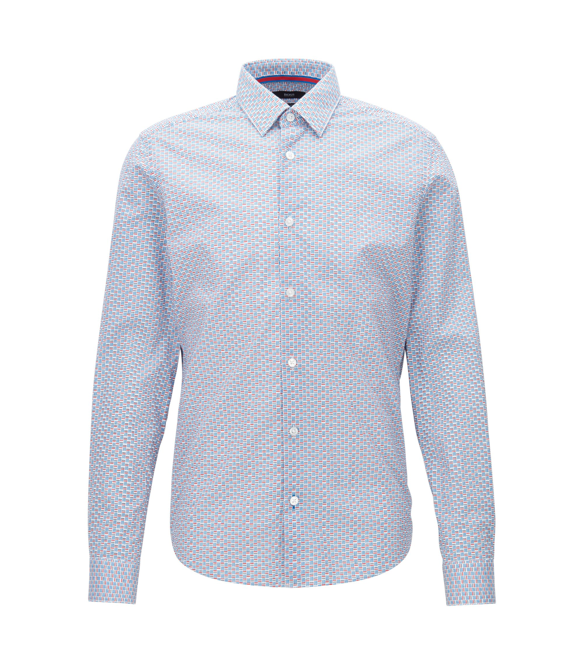 Basketweave Stretch Cotton Sport Shirt, Regular Fit | Lance F, Blue