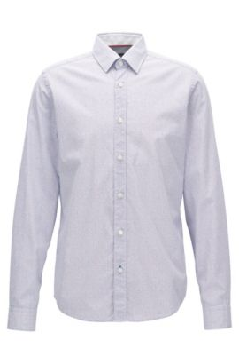 Dotted Cotton Sport Shirt, Regular Fit | Lance, Blue