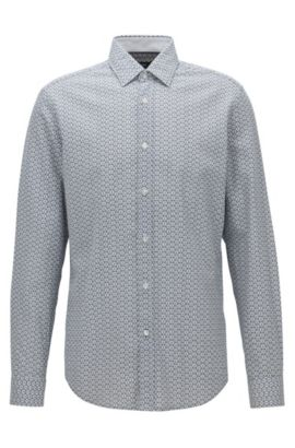 Circle-Patterned Cotton Sport Shirt, Regular Fit | Lukas, Natural
