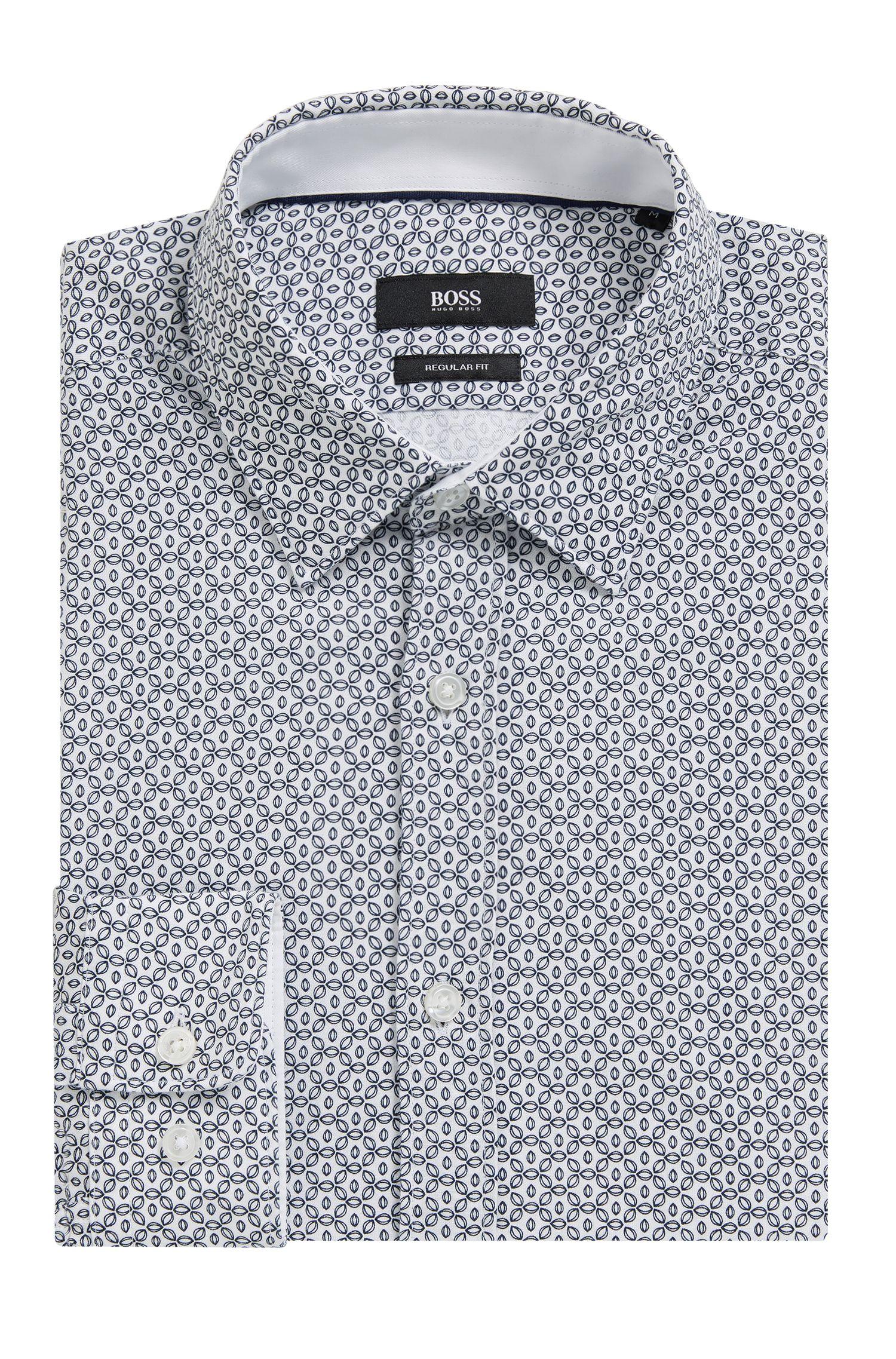 Circle-Patterned Cotton Sport Shirt, Regular Fit | Lukas, Natural