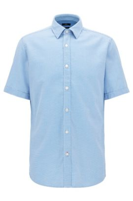 Nailhead Cotton Sport Shirt, Regular Fit | Luka, Blue