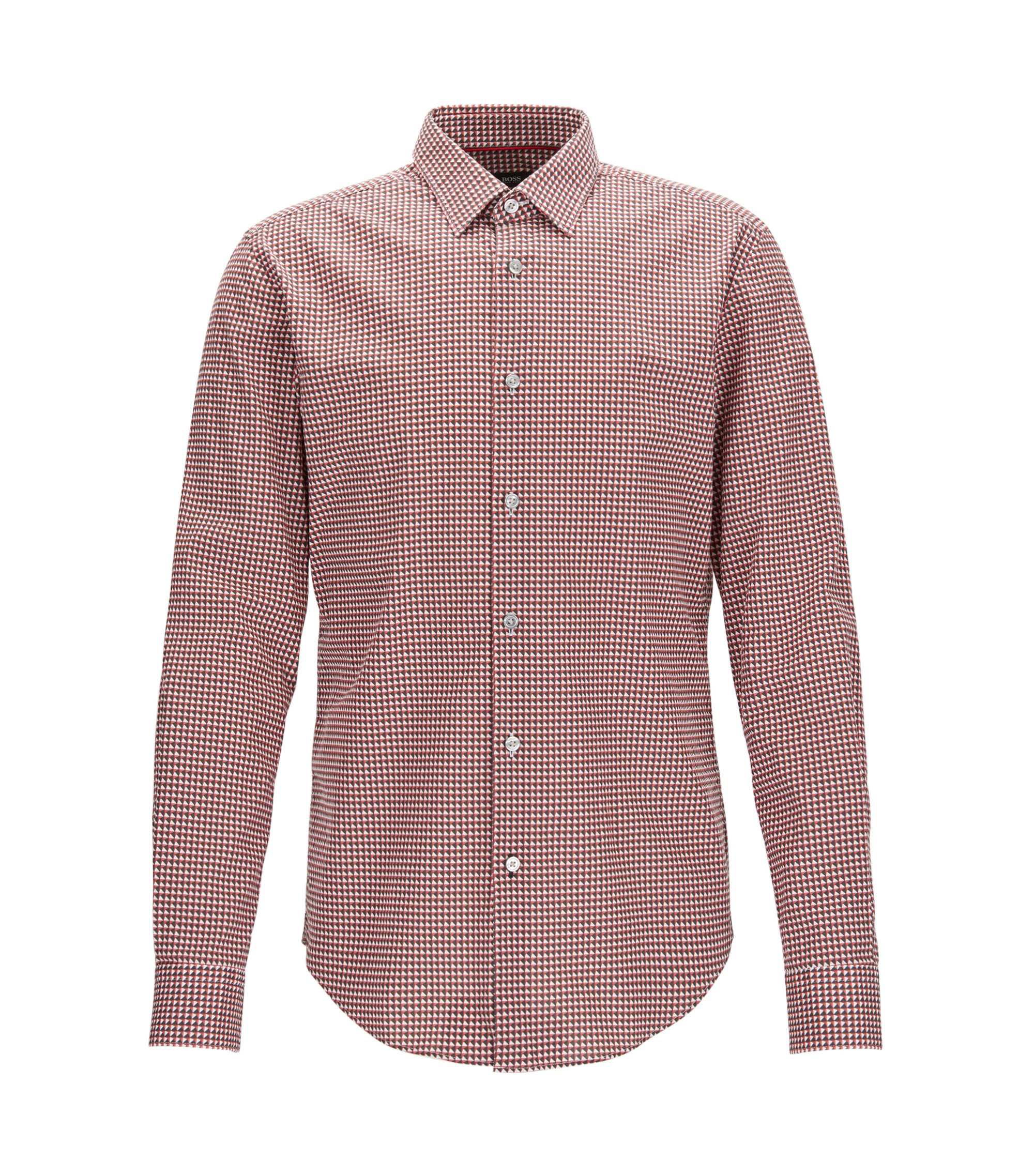 Geometric Stretch Cotton Sport Shirt, Slim Fit | Ronni F, Red