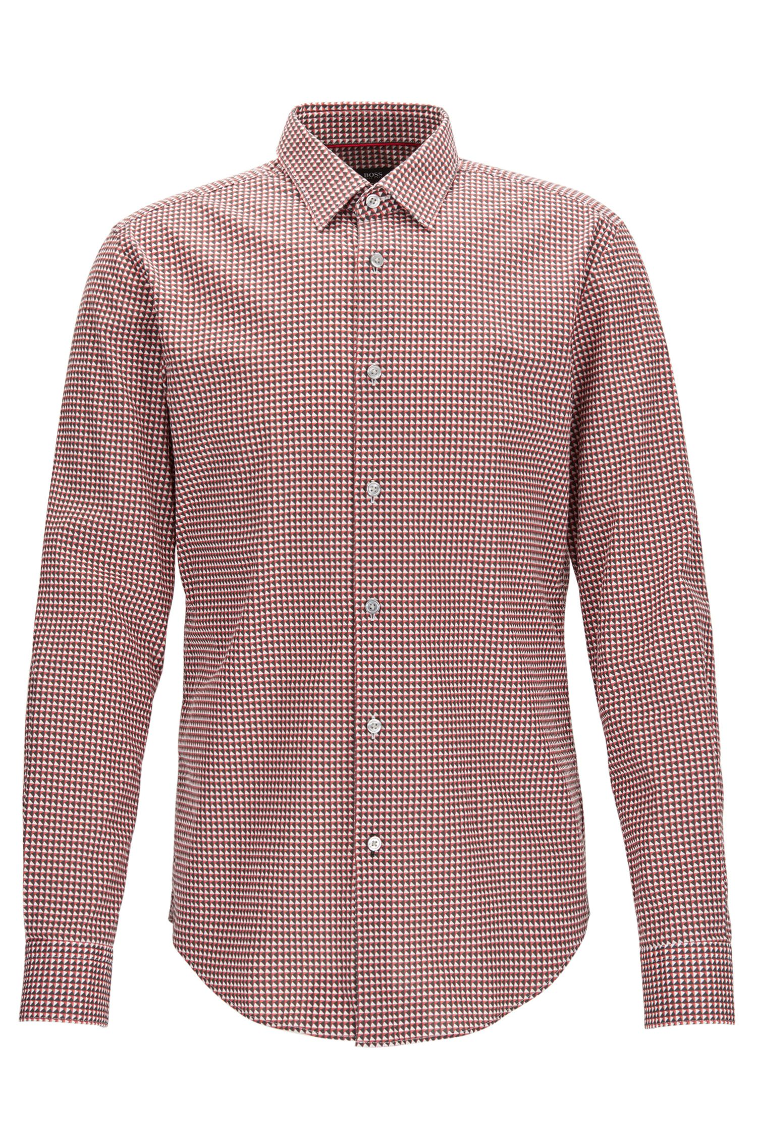 Geometric Stretch Cotton Sport Shirt, Slim Fit | Ronni F