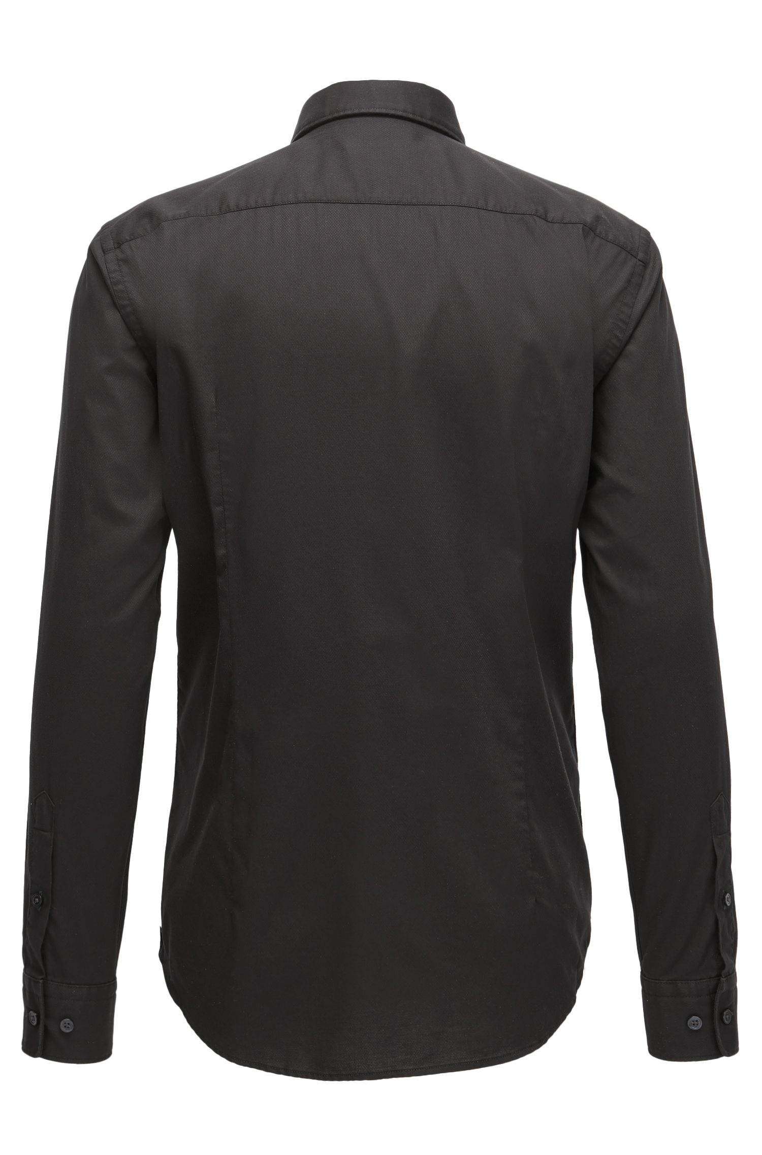 Stretch Cotton Sport Shirt, Slim Fit | Ronni H, Black