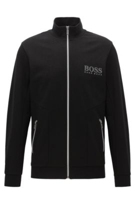 Stretch Cotton Jersey Full-Zip Jacket | Tracksuit Jacket, Black