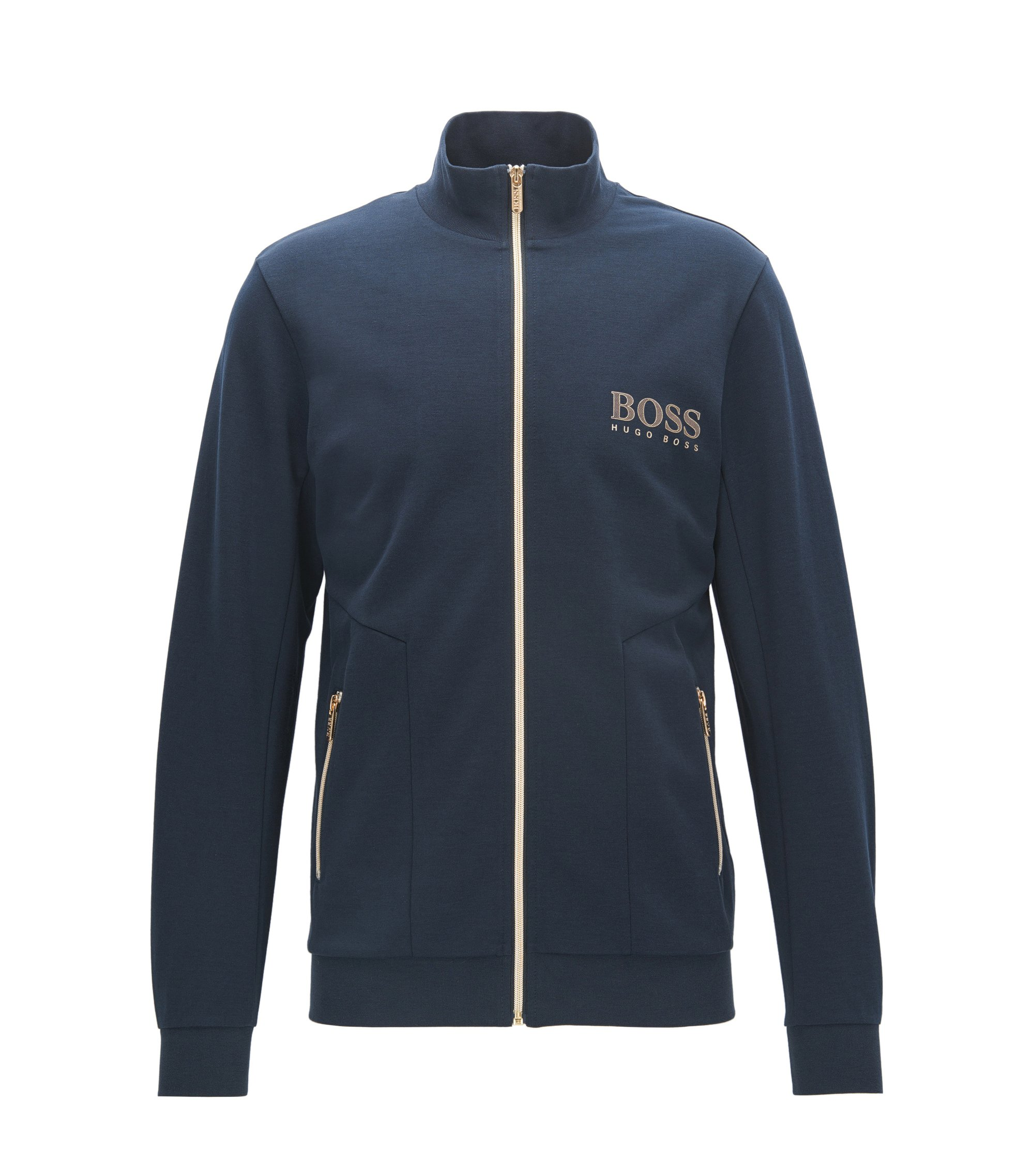 Stretch Cotton Jersey Full-Zip Jacket | Tracksuit Jacket, Dark Blue