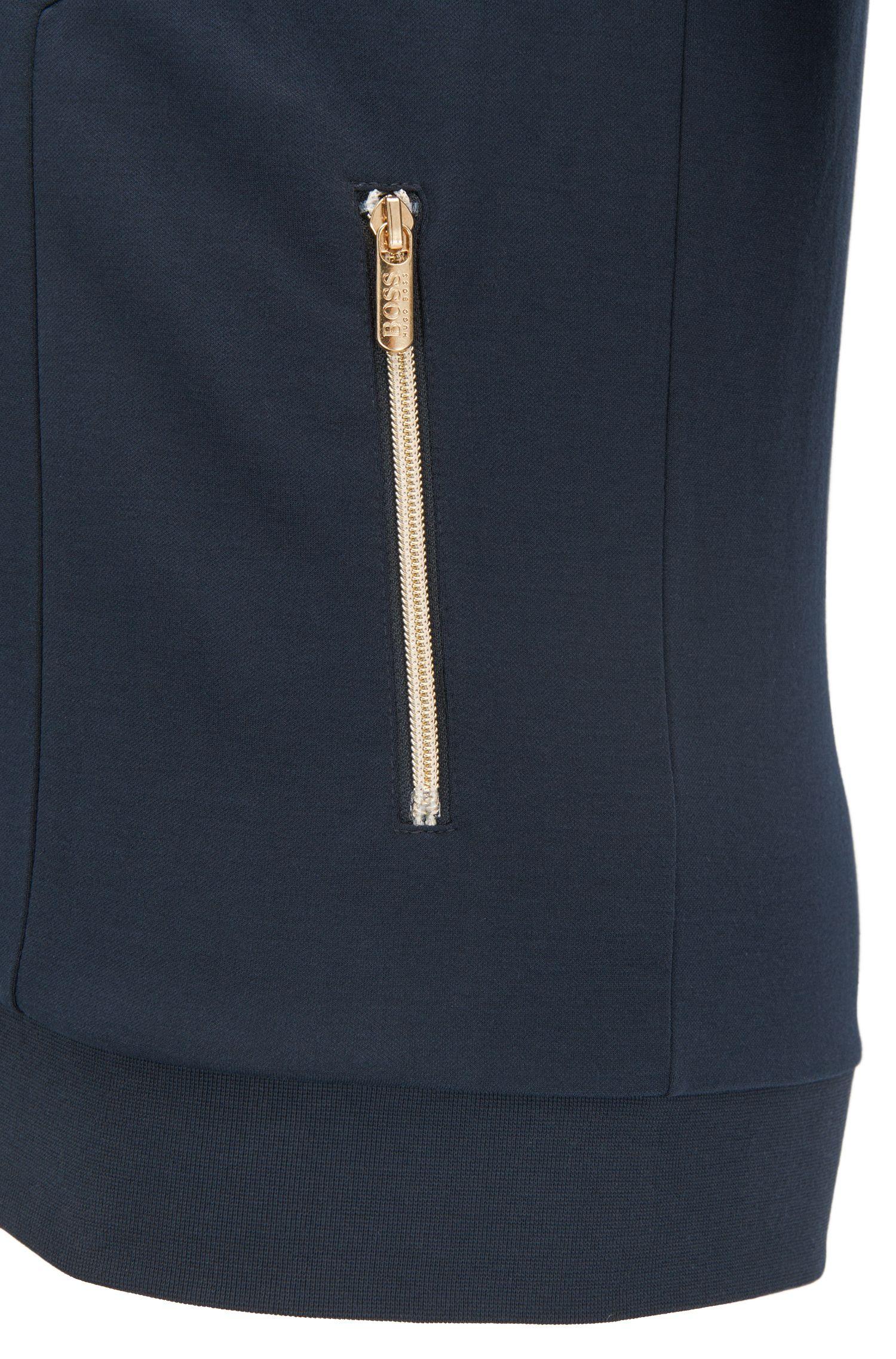Stretch Cotton Jersey Full-Zip Jacket | Tracksuit Jacket, Dark Blue