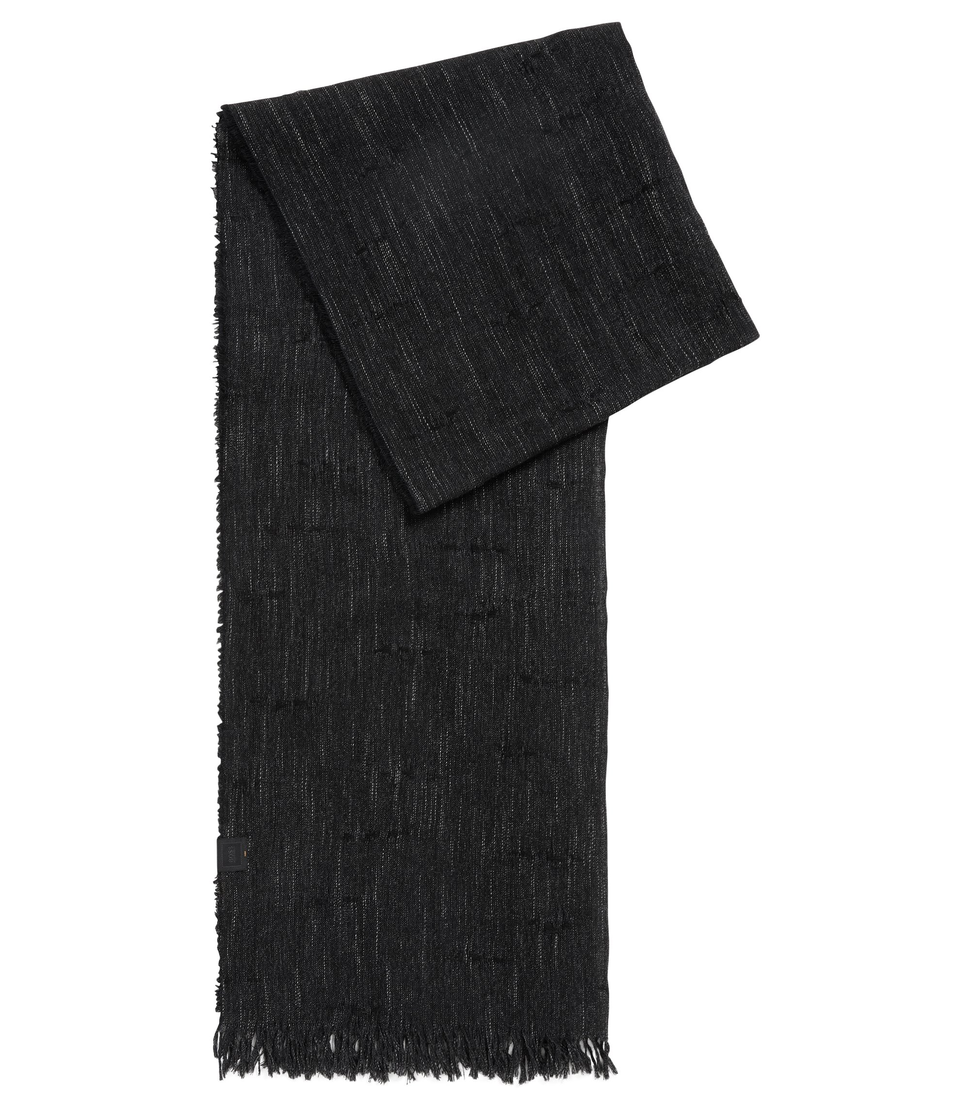 Stretch Cotton-Linen Blend Scarf | Nefy, Black