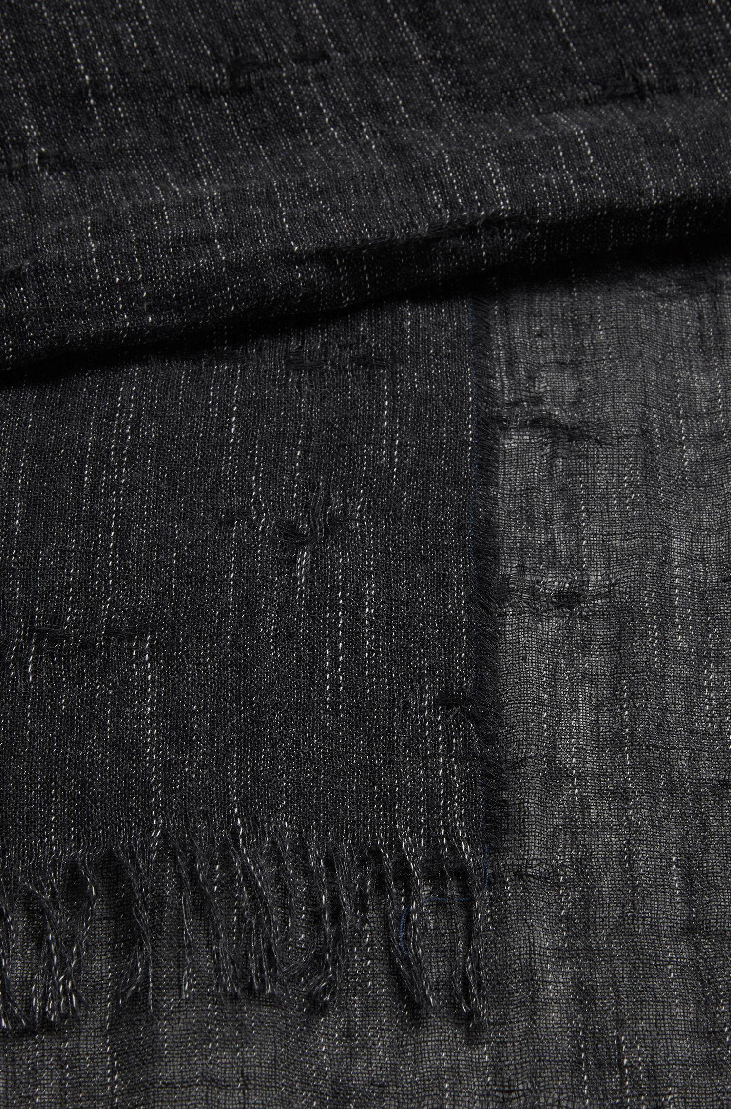 Stretch Cotton-Linen Blend Scarf | Nefy, Black