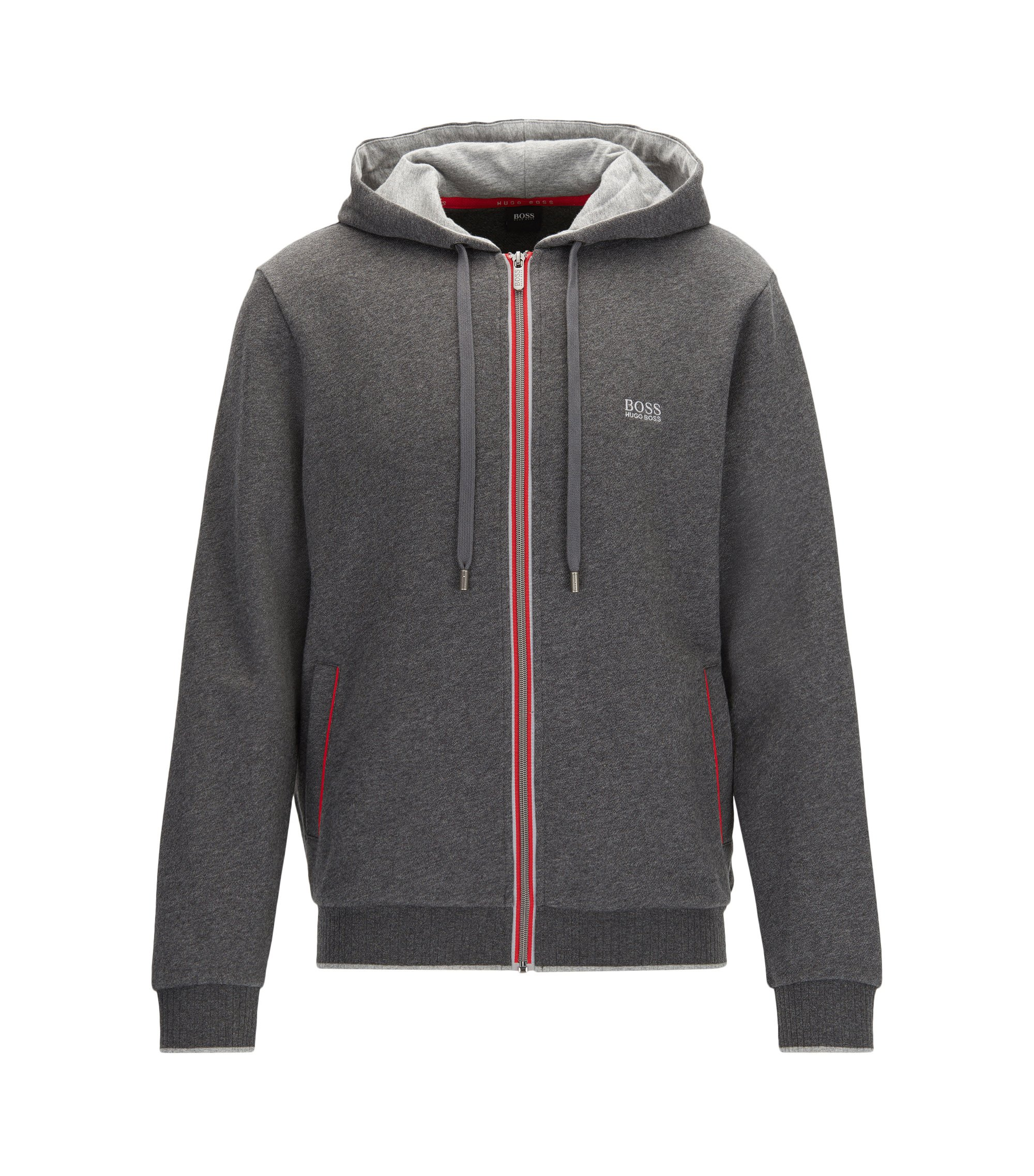 Piped Cotton Blend Jersey Hoodie   Authentic Jacket H, Grey