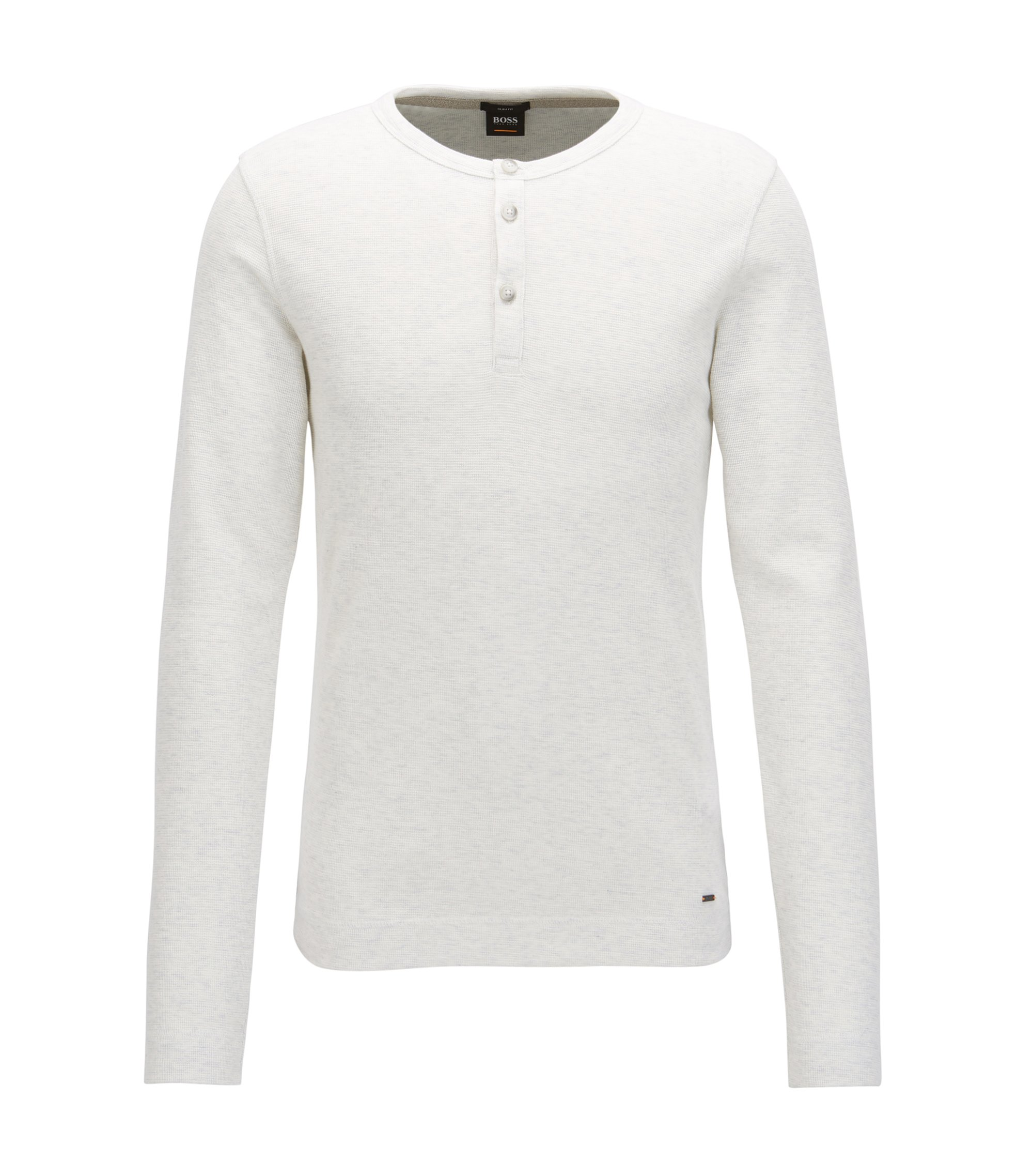 Slim-fit Henley T-shirt in heathered cotton, Natural