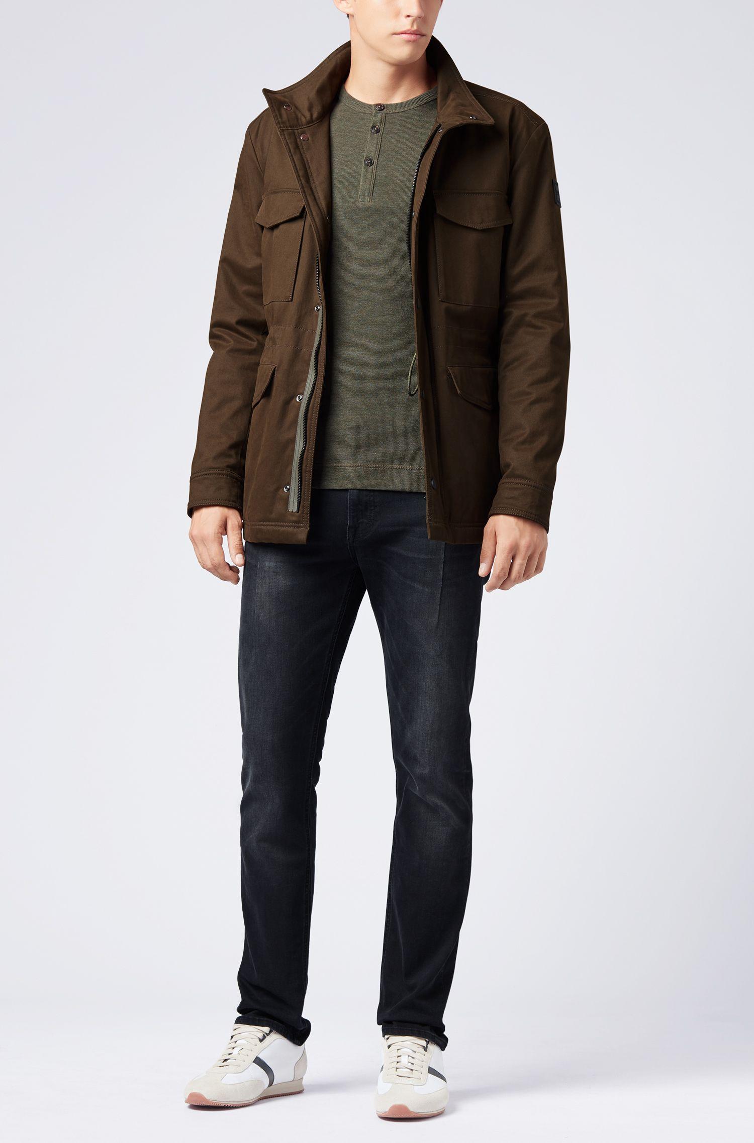 Slim-fit Henley T-shirt in heathered cotton, Dark Green