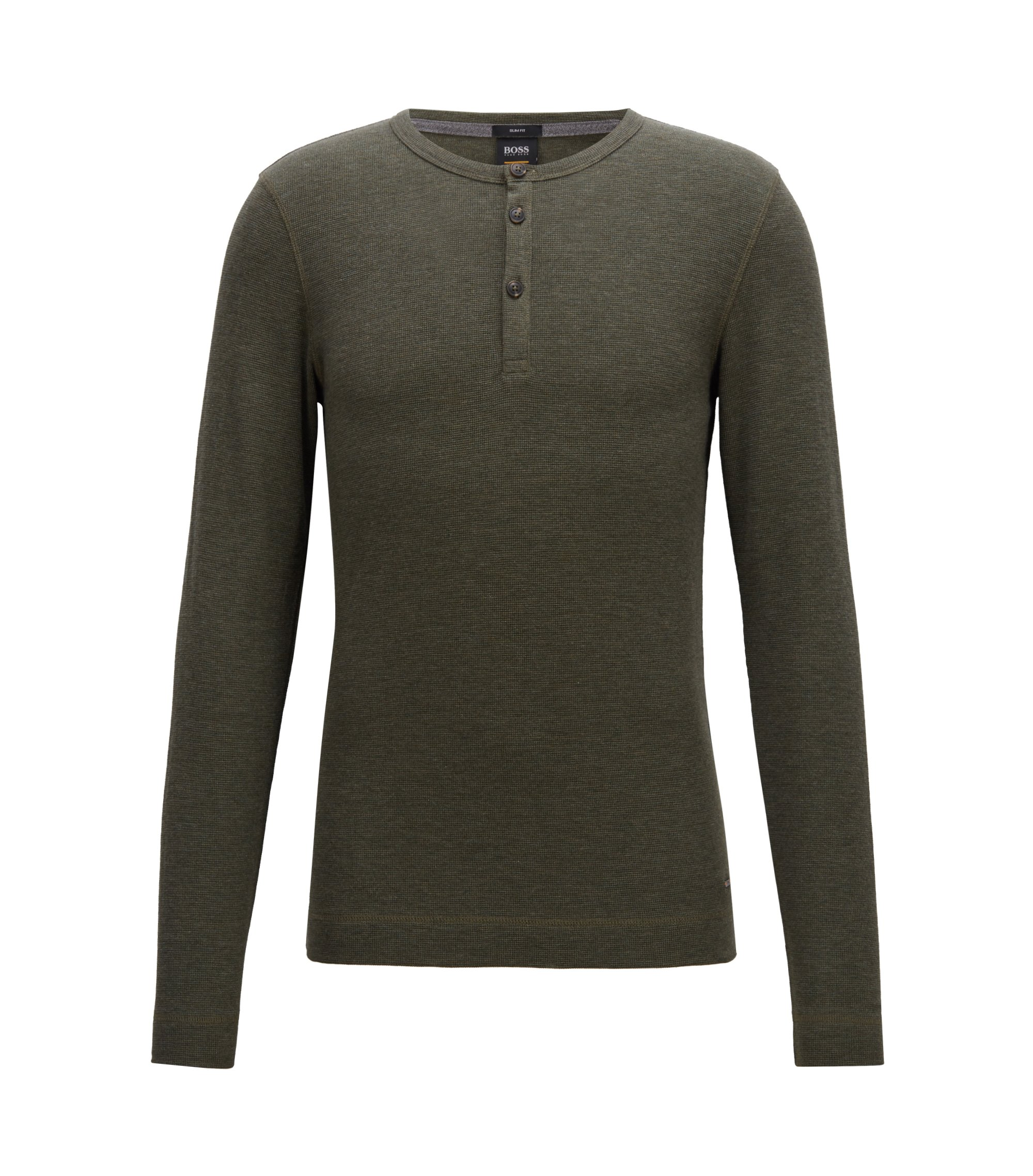 Slim-fit Henley T-shirt in heathered cotton, Dark Green