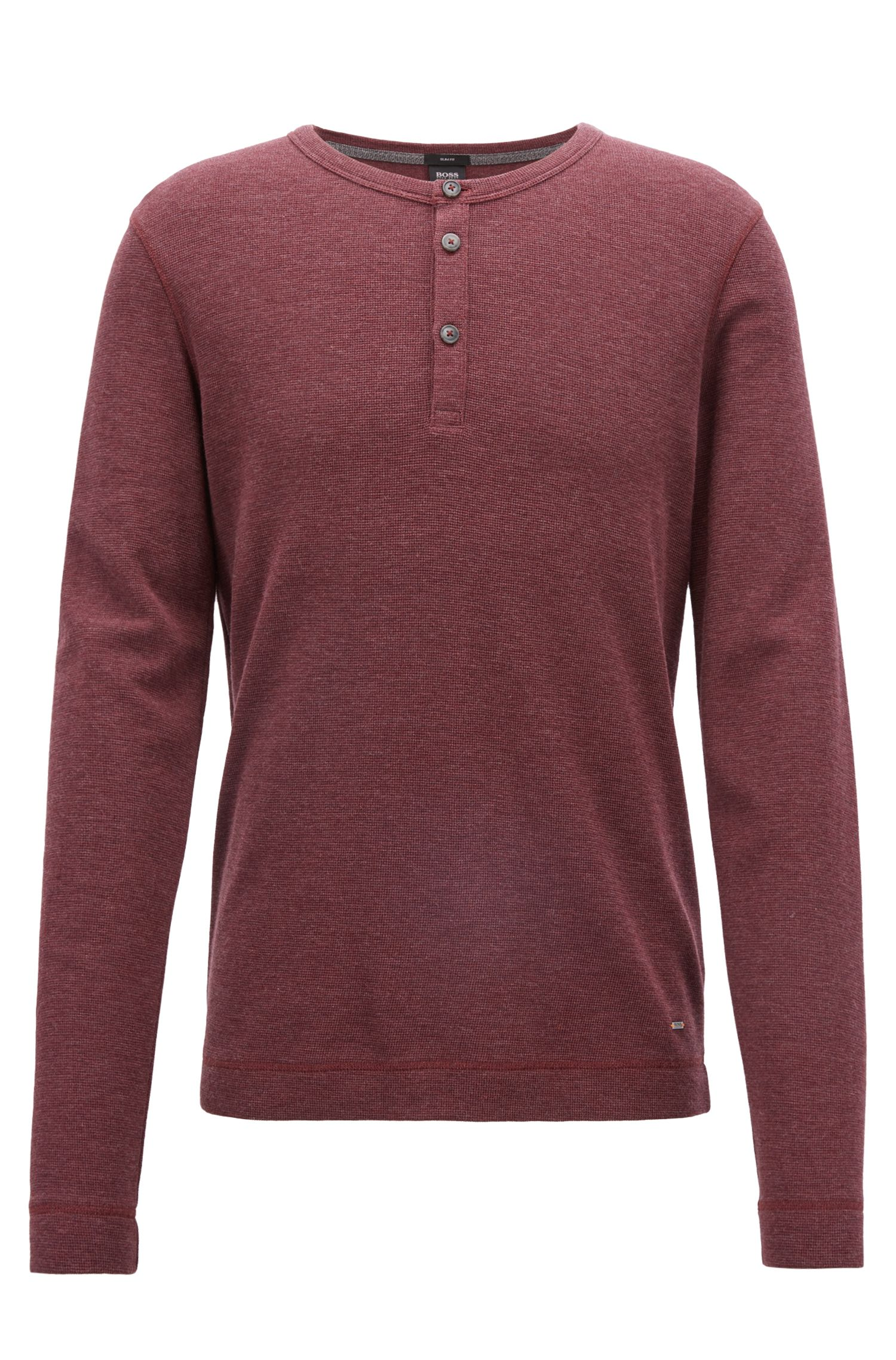 Slim-fit Henley T-shirt in heathered cotton, Open Red
