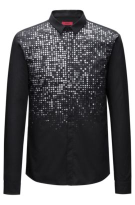 Metallic-Print Cotton Sport Shirt, Extra Slim Fit | Ero, Black