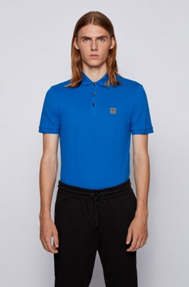 Slim-fit polo shirt in washed piqué with logo patch, Blue