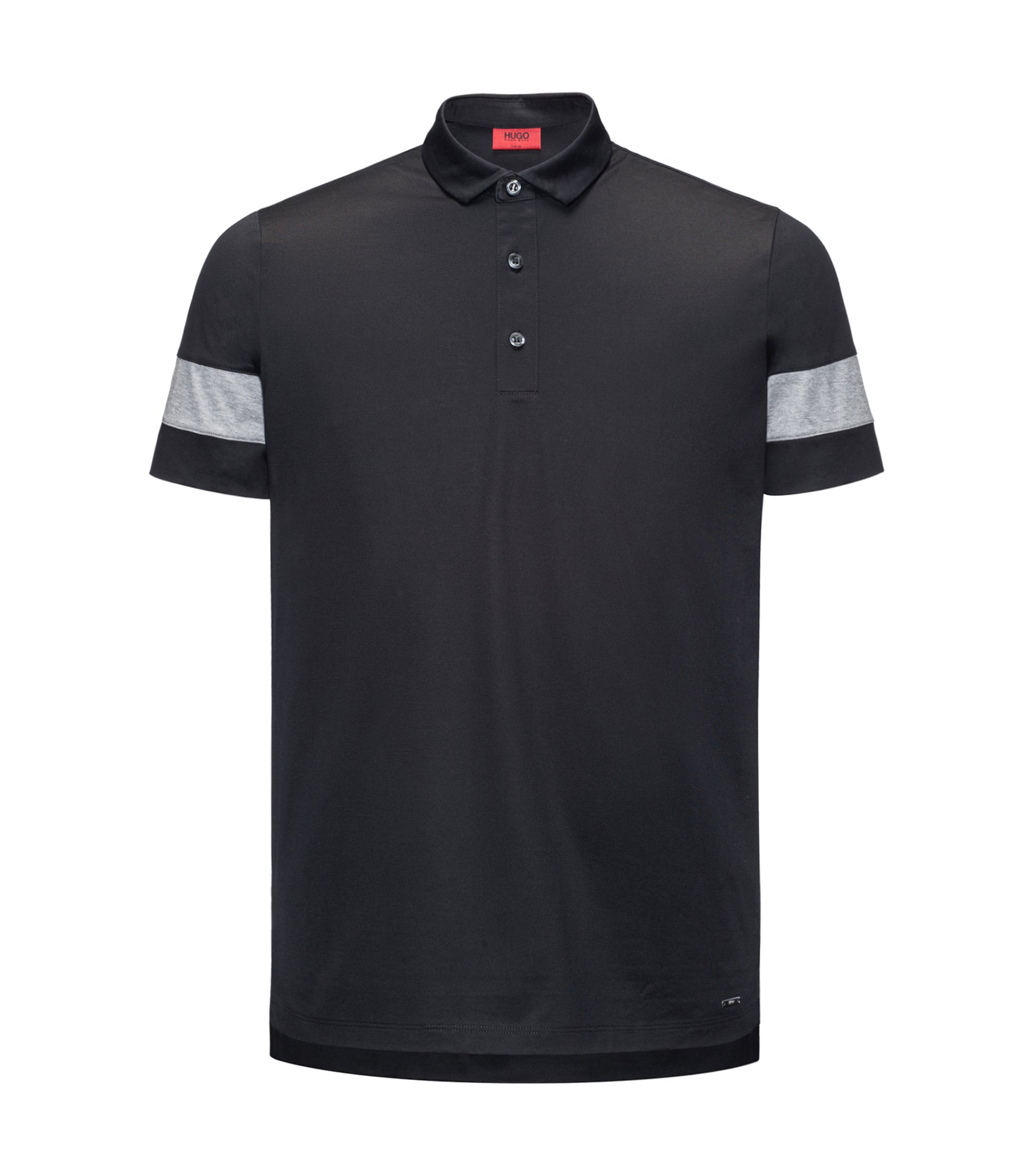 Thick-Striped Mercerized Cotton Polo Shirt, Slim Fit | Drooks, Black