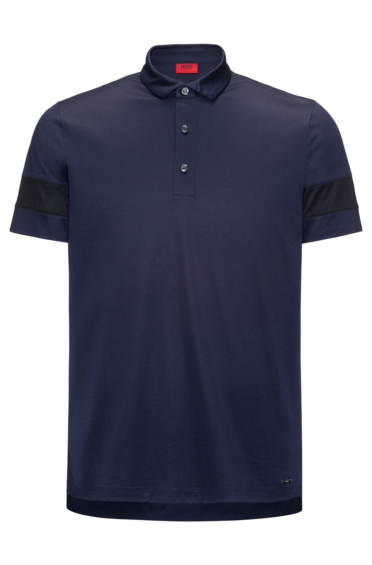 Thick-Striped Mercerized Cotton Polo Shirt, Slim Fit | Drooks, Dark Blue