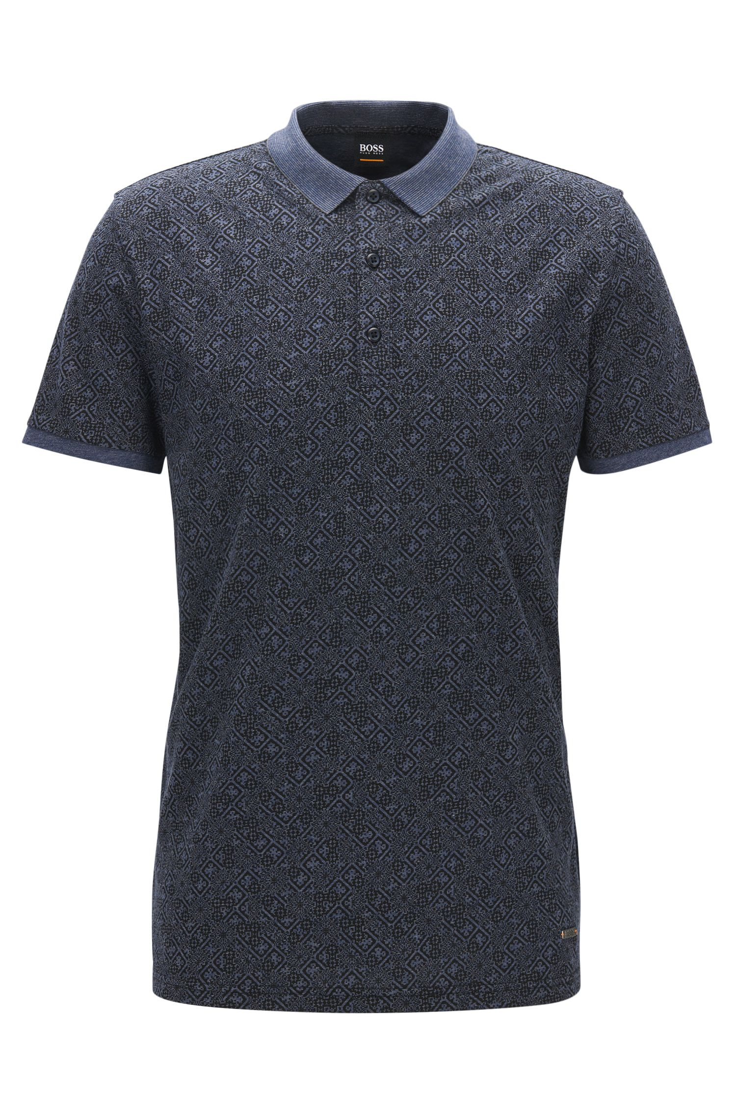 Tile Jacquard Polo Shirt, Regular Fit | Pattern, Blue