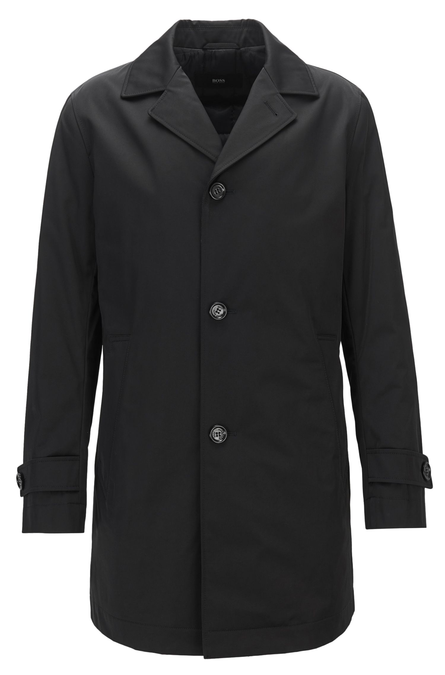 Stretch Cotton Water-Repellent Coat | Dais, Black