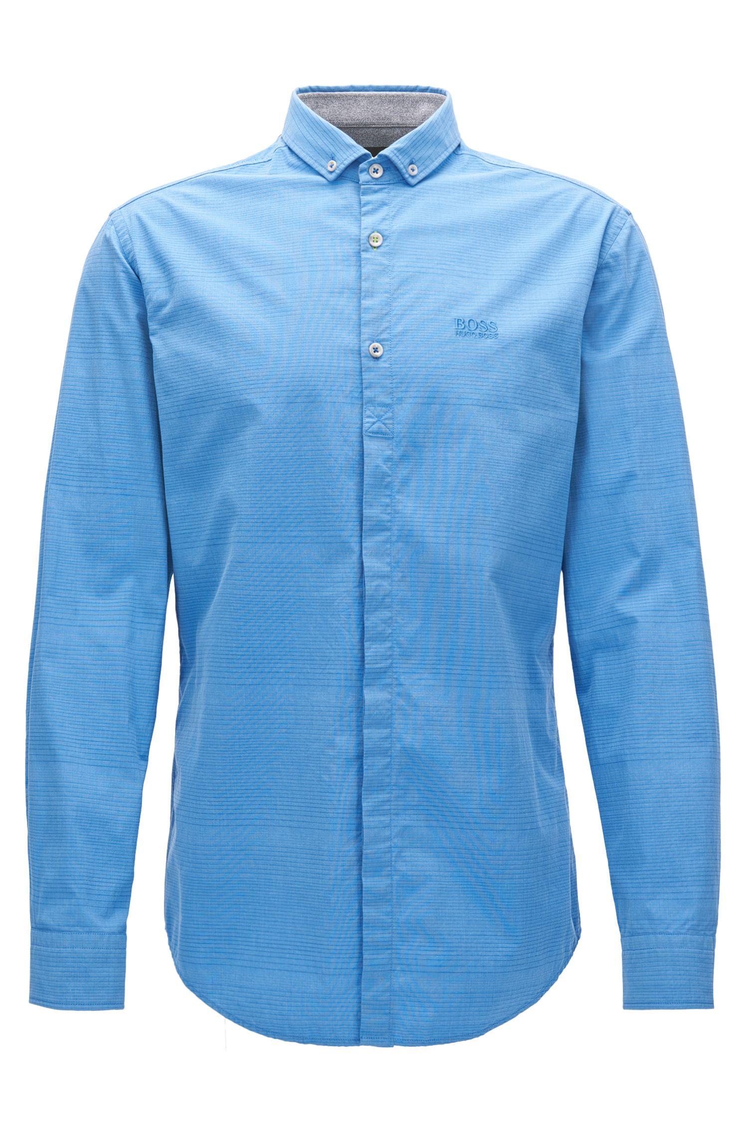 Striped Stretch Poplin Sport Shirt, Slim Fit | Burris, Blue
