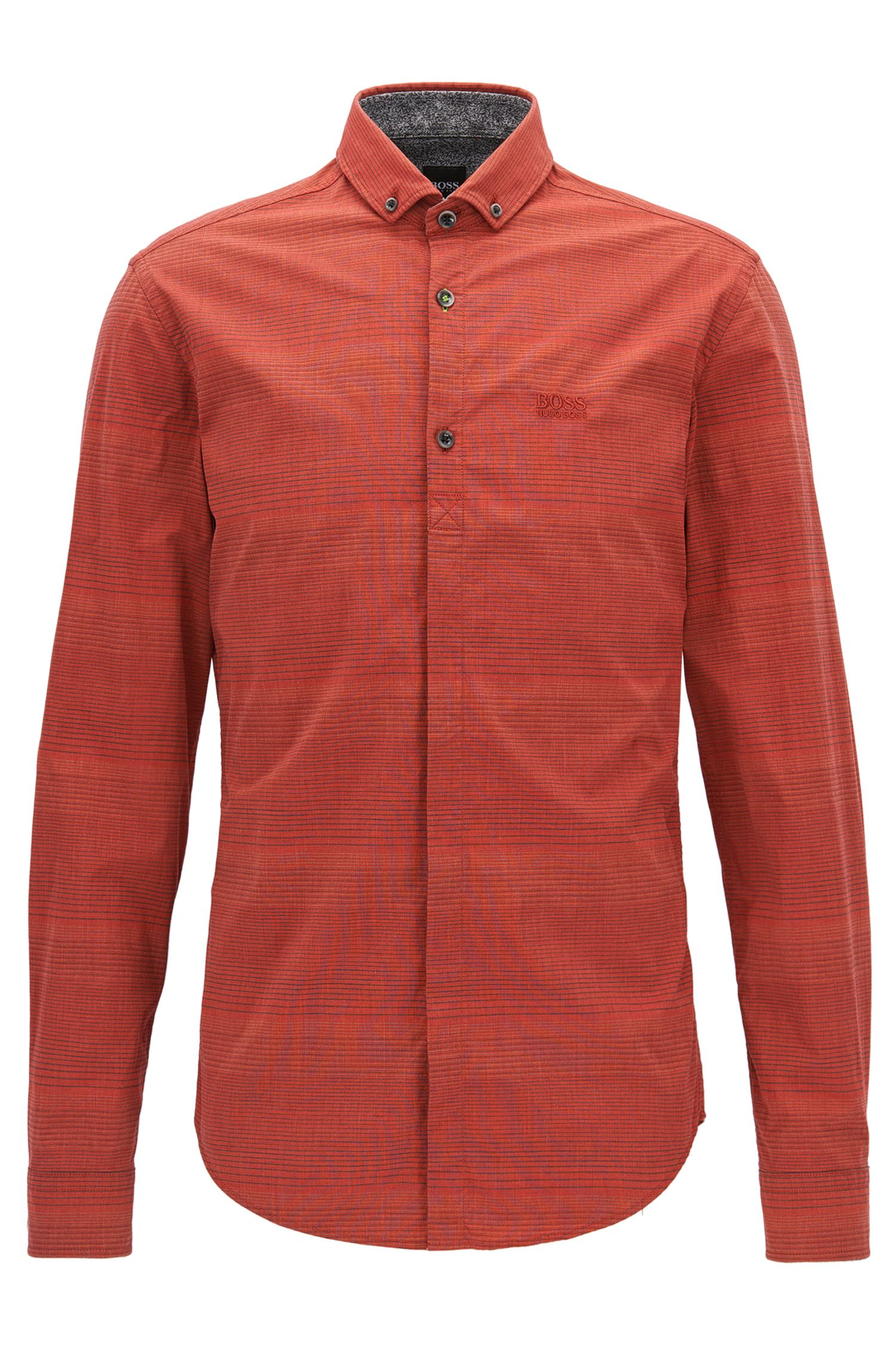 Striped Stretch Poplin Sport Shirt, Slim Fit | Burris, Red
