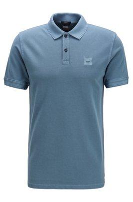 Slim-fit polo shirt in washed cotton piqué, Dark Grey