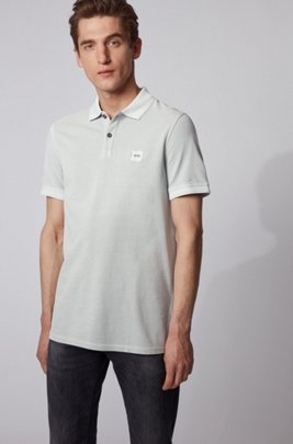 Slim-fit polo shirt in washed cotton piqué, Silver